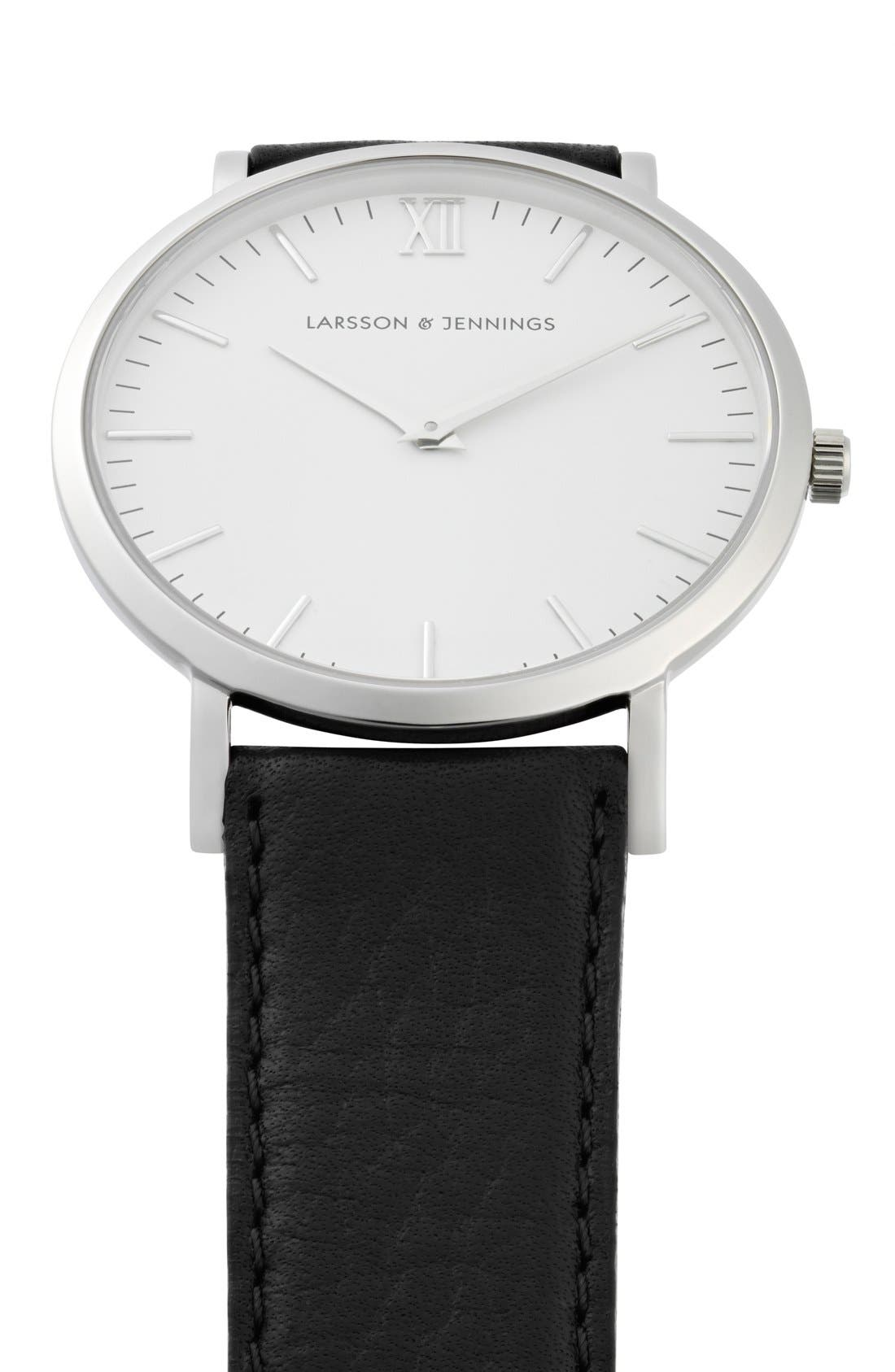 'Lugano' Leather Strap Watch, 40mm,                             Alternate thumbnail 6, color,                             Black/ White