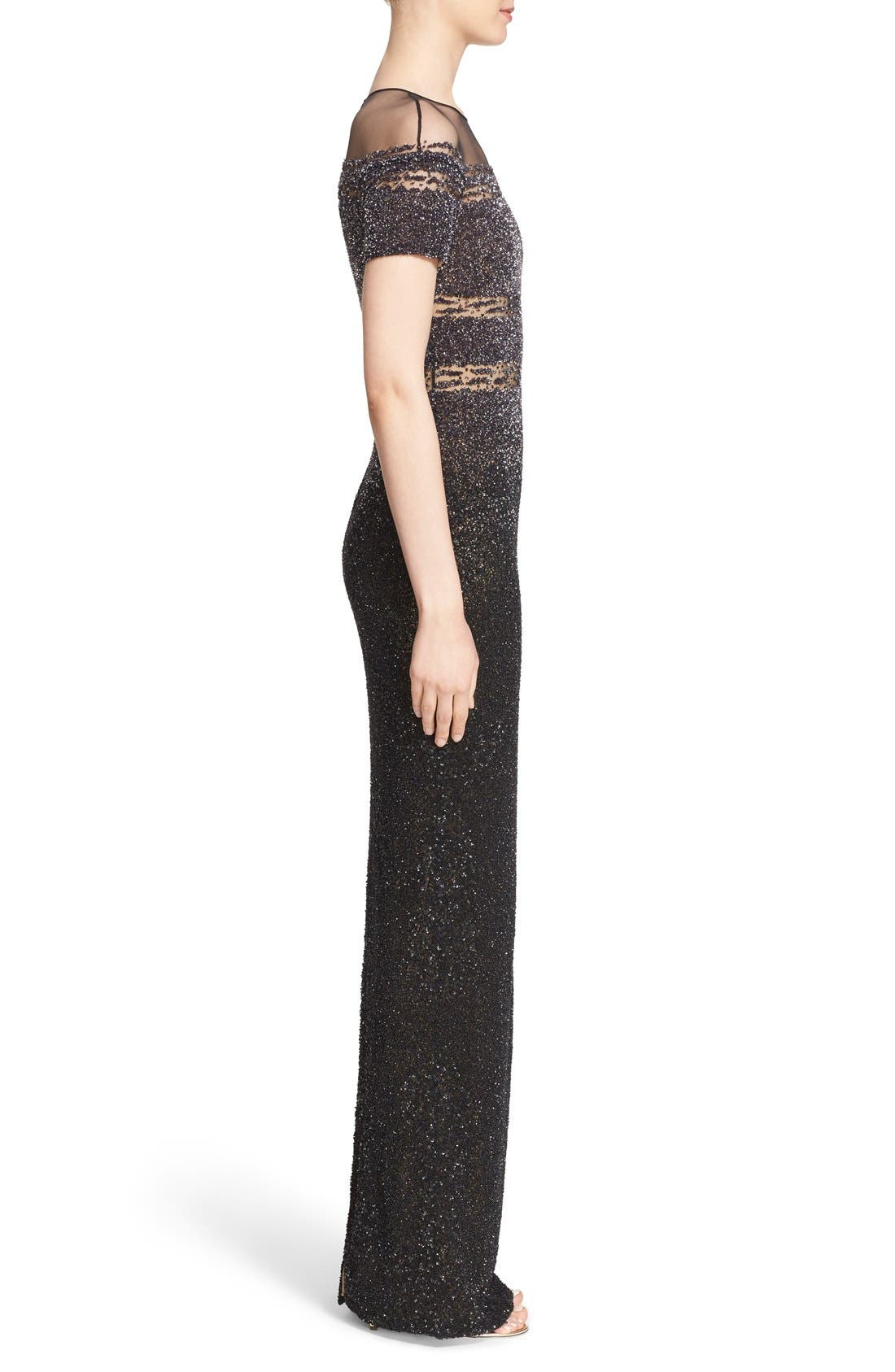Alternate Image 4  - Pamella Roland Illusion & Sequin Column Gown