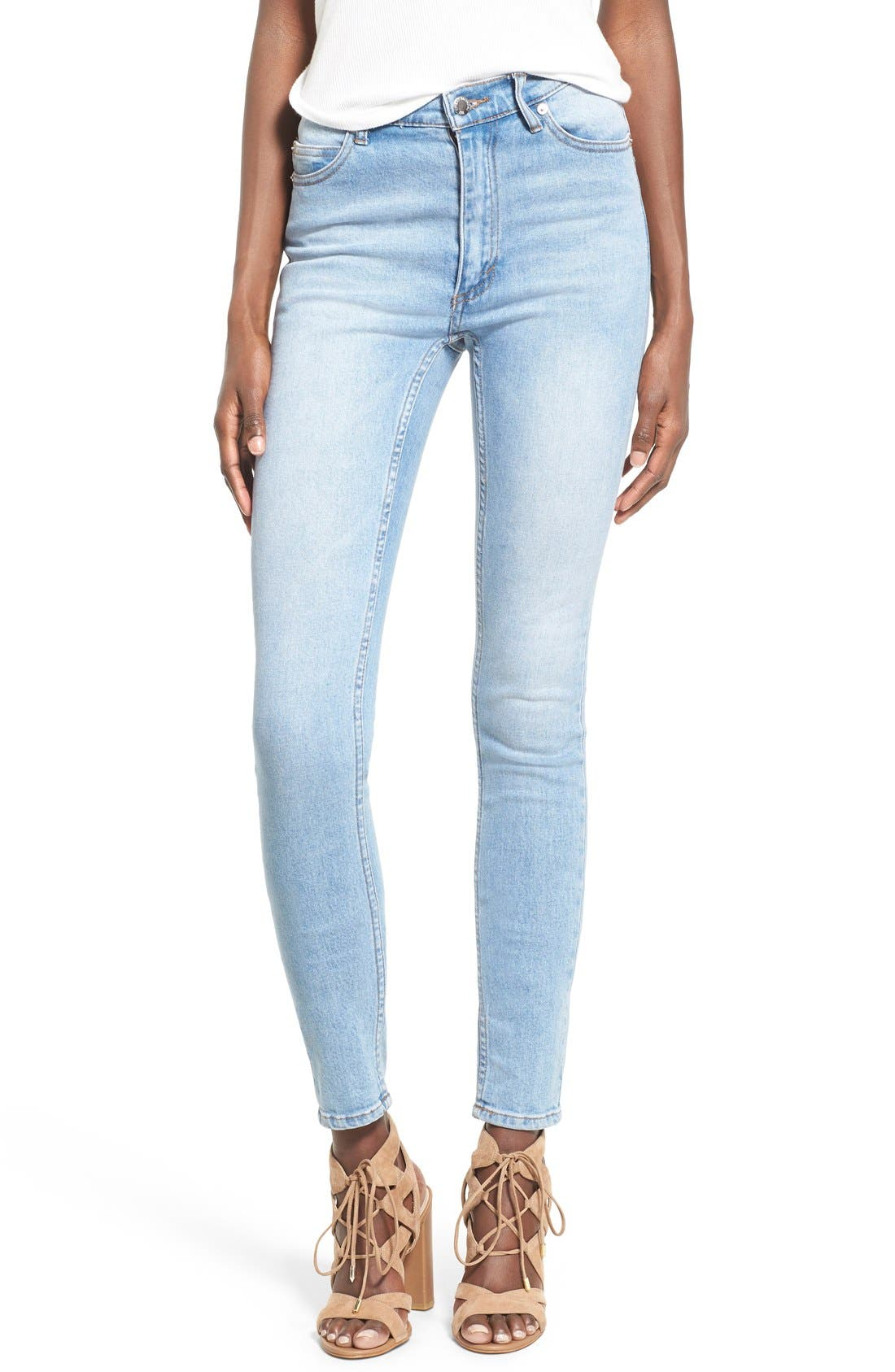 Alternate Image 1 Selected - Cheap Monday 'Second Skin' Skinny Jeans (Stonewash Blue)