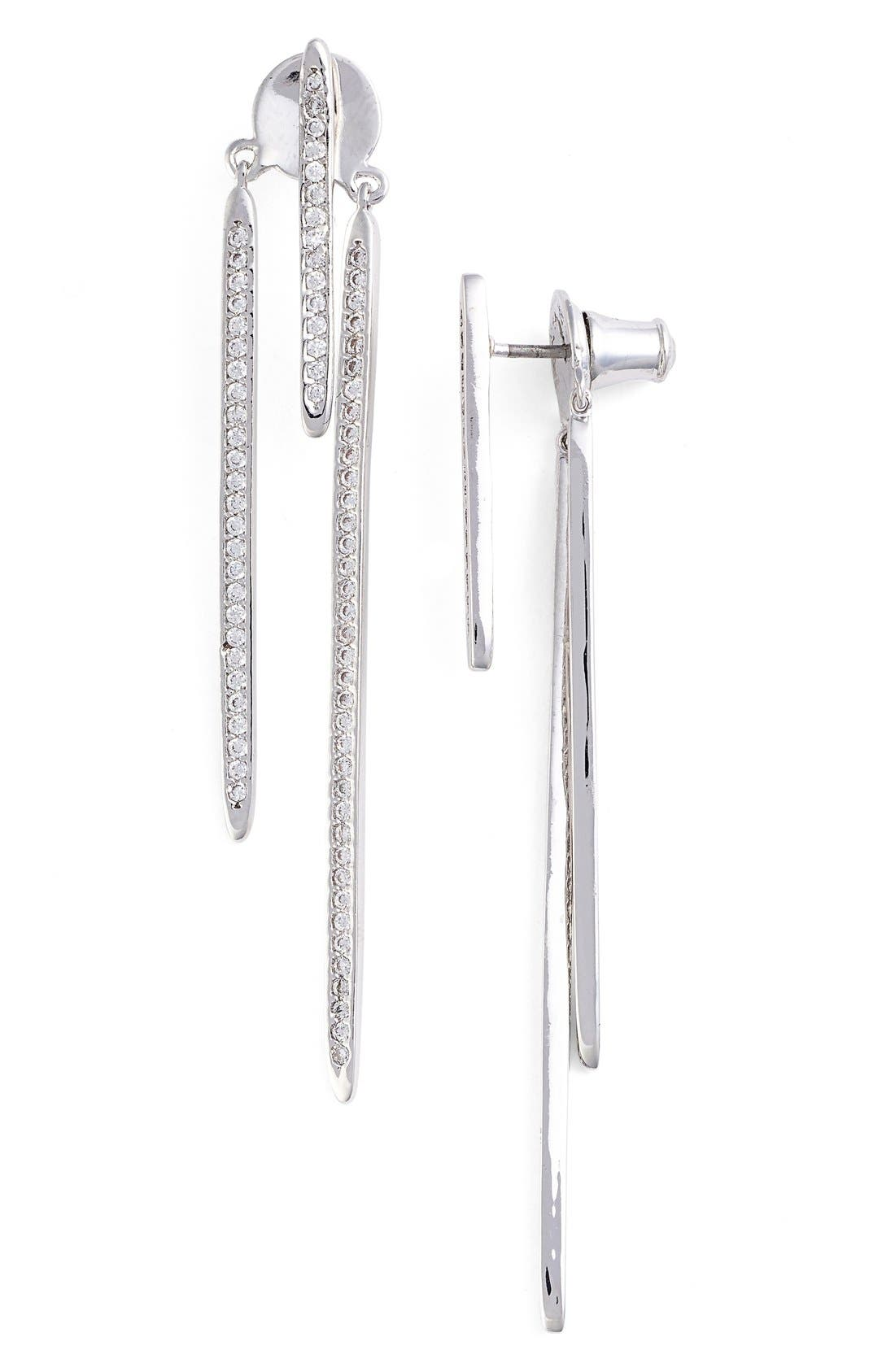 CZ BY KENNETH JAY LANE Pavé Cubic Zirconia Linear Drop Back Earrings