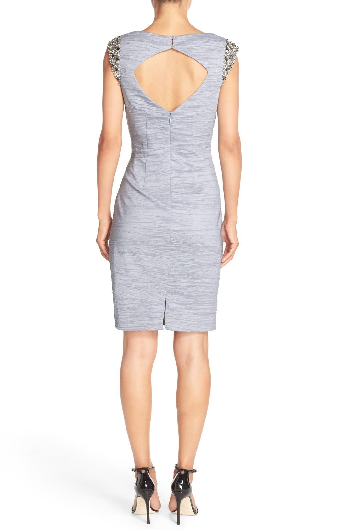 Alternate Image 2  - Eliza J Embellished Taffeta Sheath Dress
