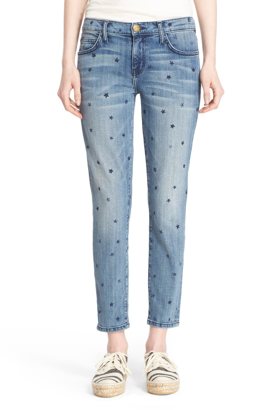 Current/Elliott 'The Stiletto' Star Print Skinny Jeans (Revival with Mini Navy Stars)