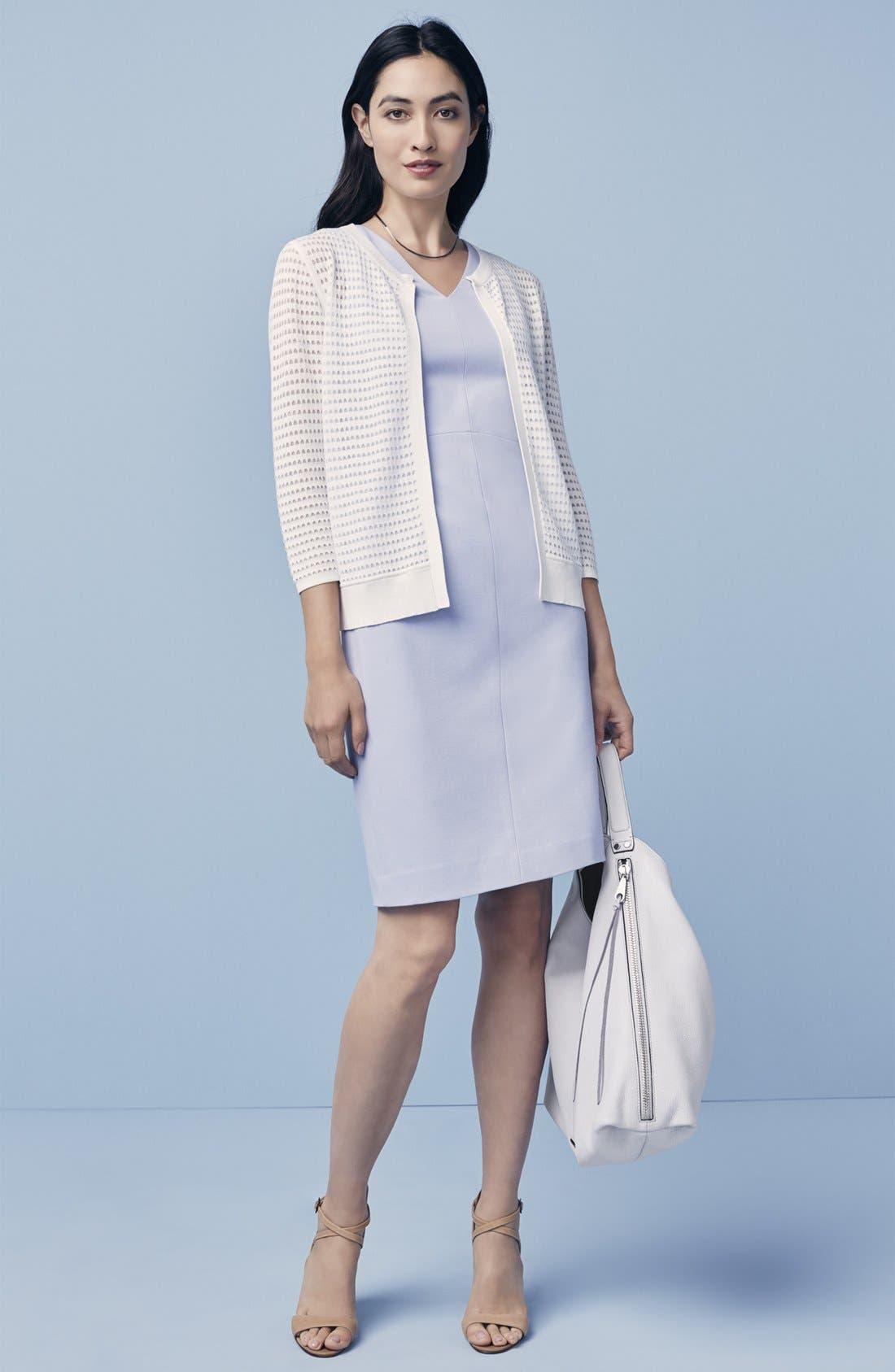 Alternate Image 6  - Classiques Entier® Italian Ponte Double V-Neck Sheath Dress (Regular & Petite)