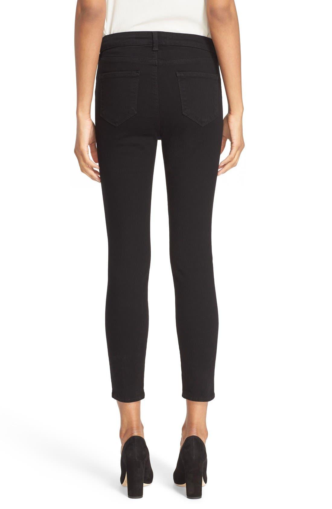 Margot High Waist Crop Jeans,                             Alternate thumbnail 2, color,                             Noir