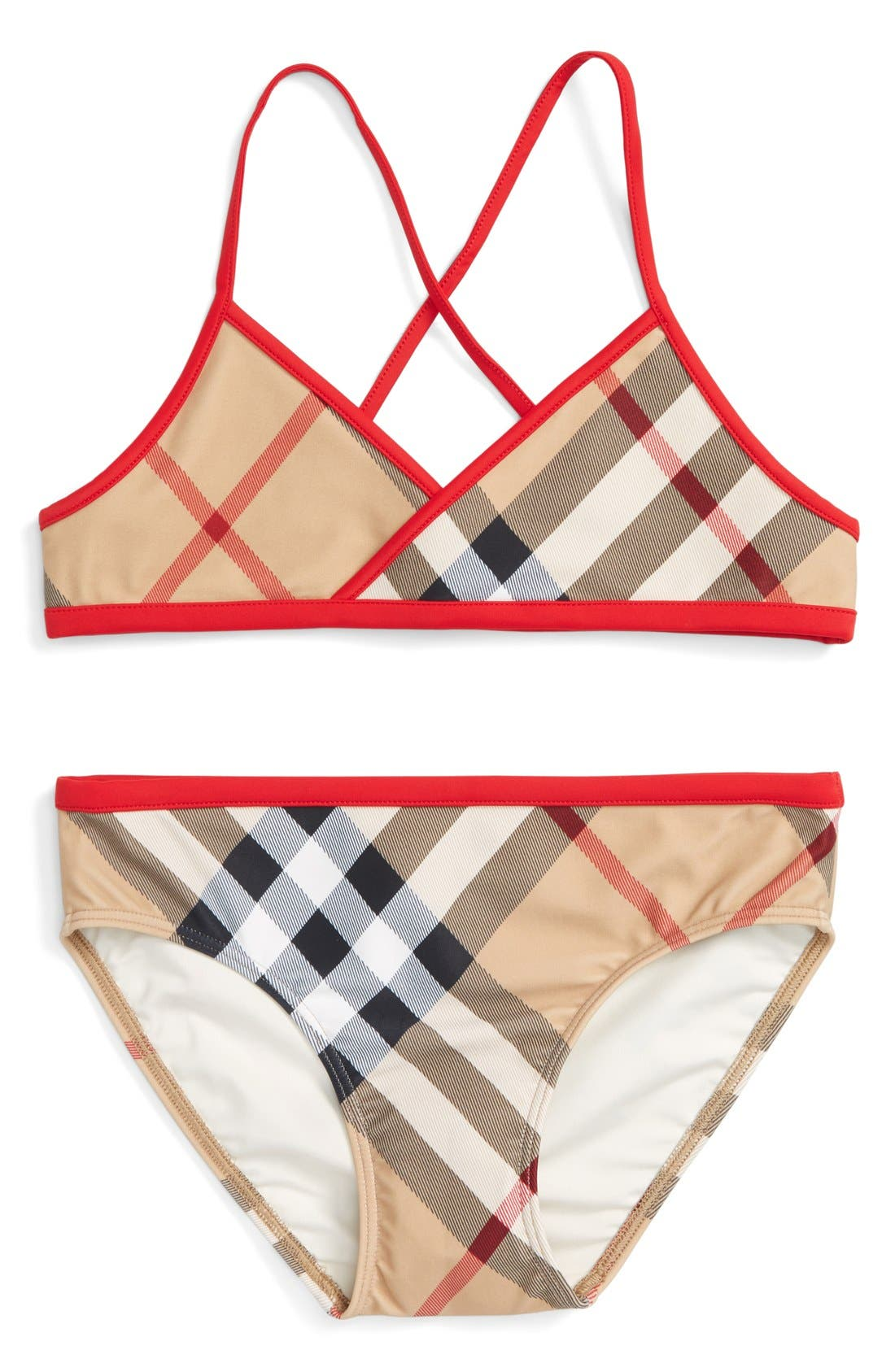 Alternate Image 1 Selected - Burberry 'Crosby' Two-Piece Swimsuit (Little Girls & Big Girls)