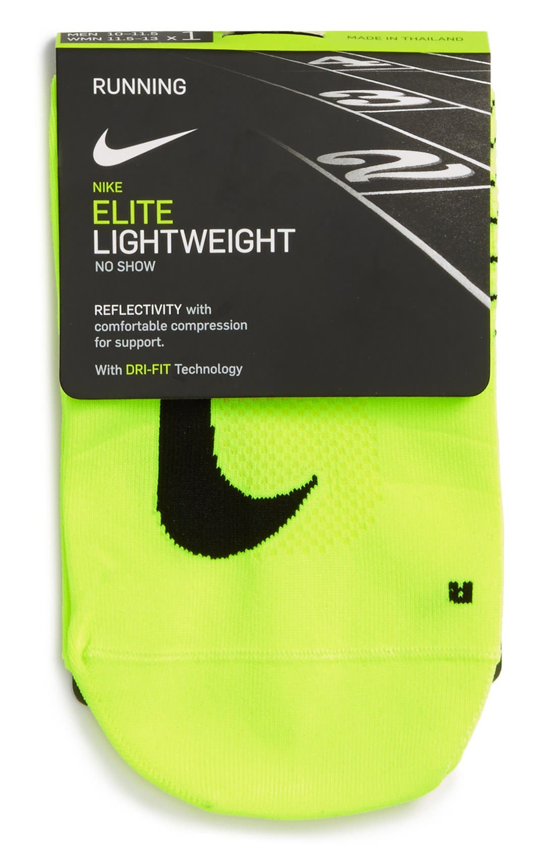 'Elite' Lightweight No-Show Tab Running Socks,                             Alternate thumbnail 3, color,                             Volt/ Black