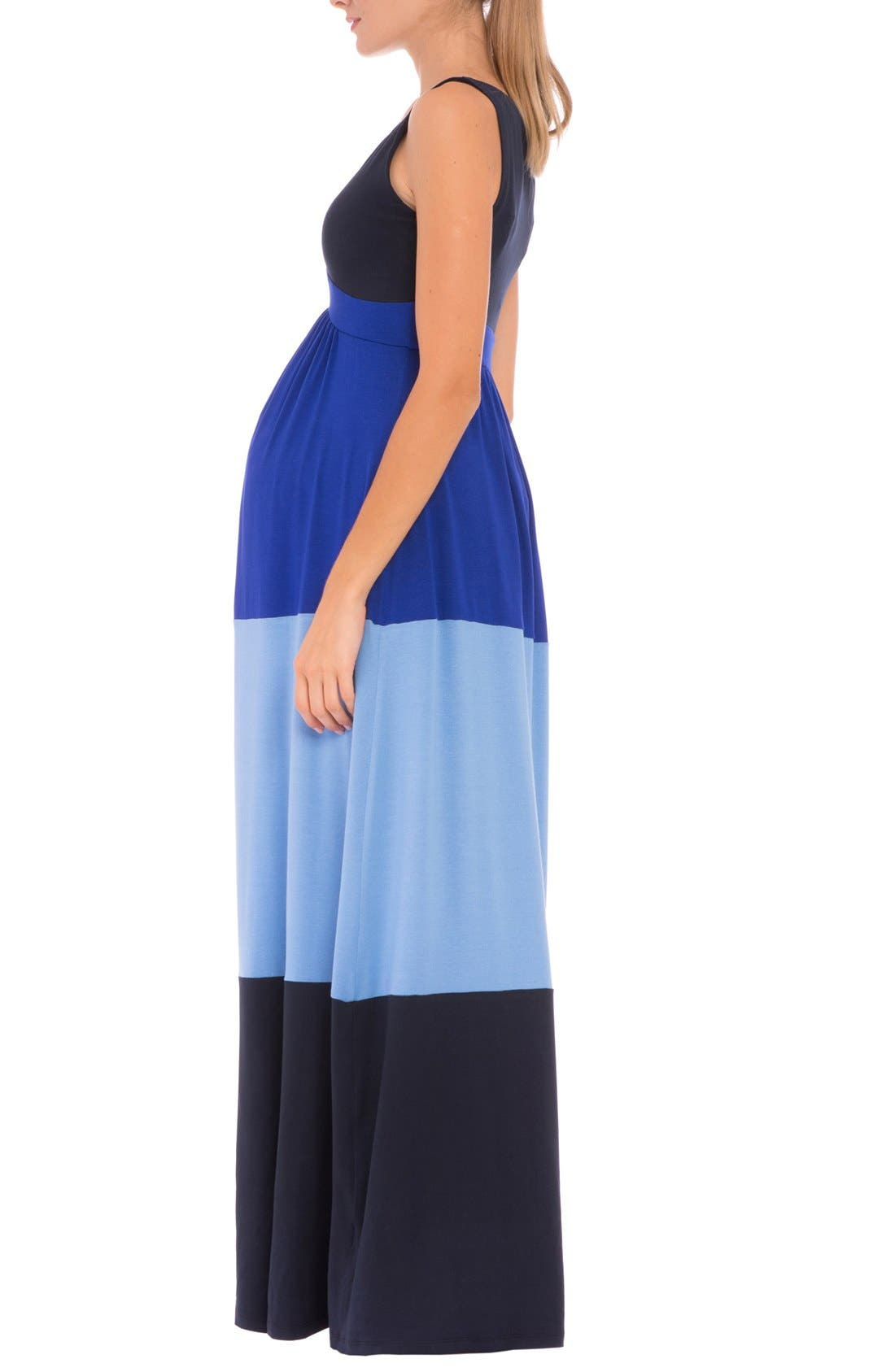 'Margarette' Colorblock Maternity Tank Dress,                             Alternate thumbnail 3, color,                             Navy
