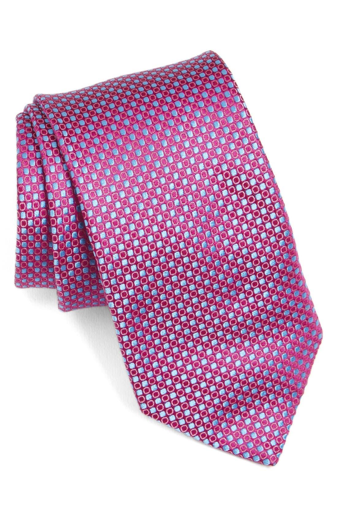 Geometric Silk Tie,                         Main,                         color, Fuschia
