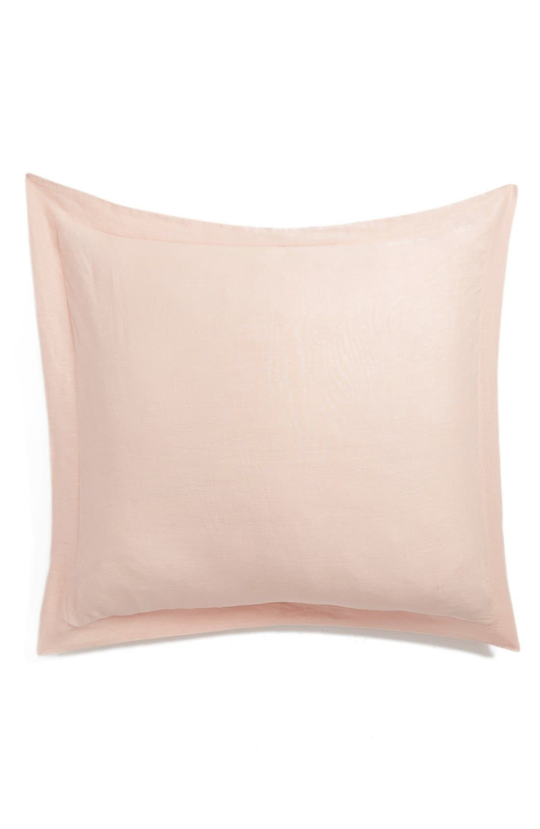 Washed Linen Euro Sham,                         Main,                         color, Blush