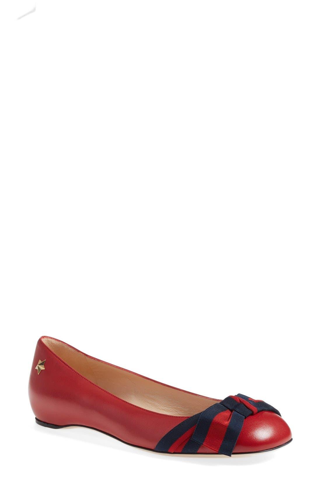 Main Image - Gucci 'Aline' Bow Ballet Flat (Women)