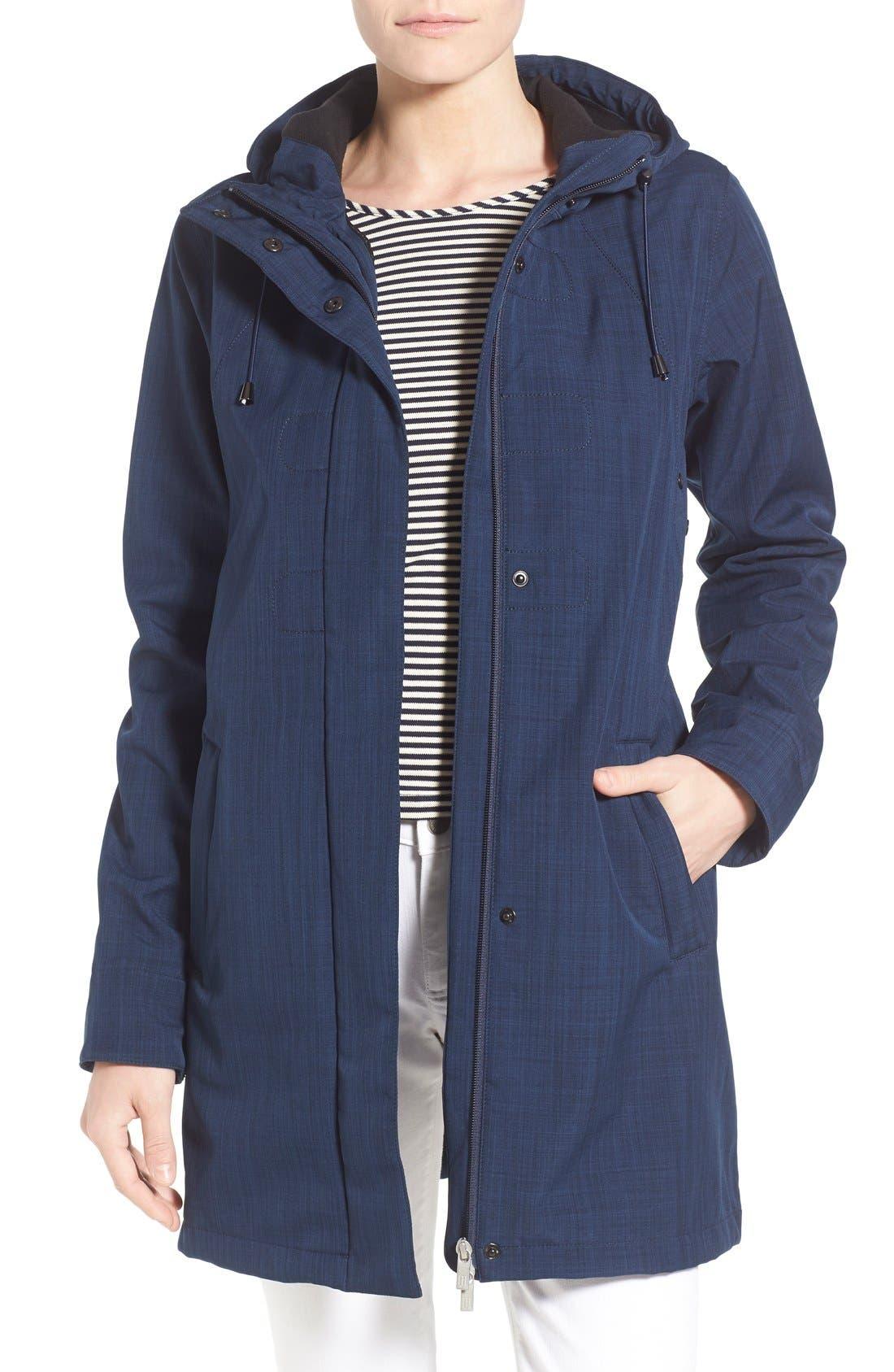 Hooded Raincoat,                         Main,                         color, Indigo