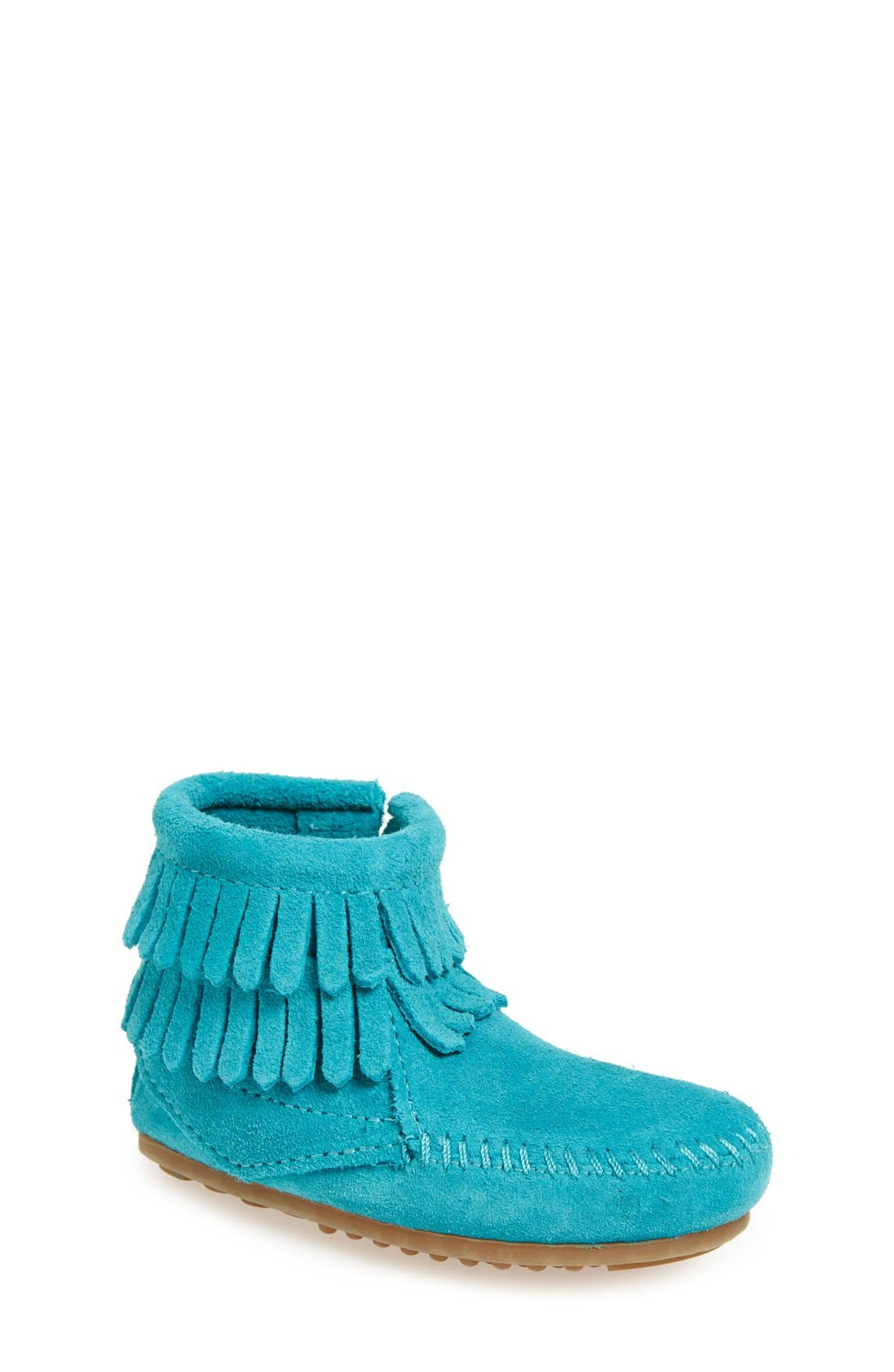 Alternate Image 1 Selected - Minnetonka 'Double Fringe' Boot (Walker, Toddler, Little Kid & Big Kid)