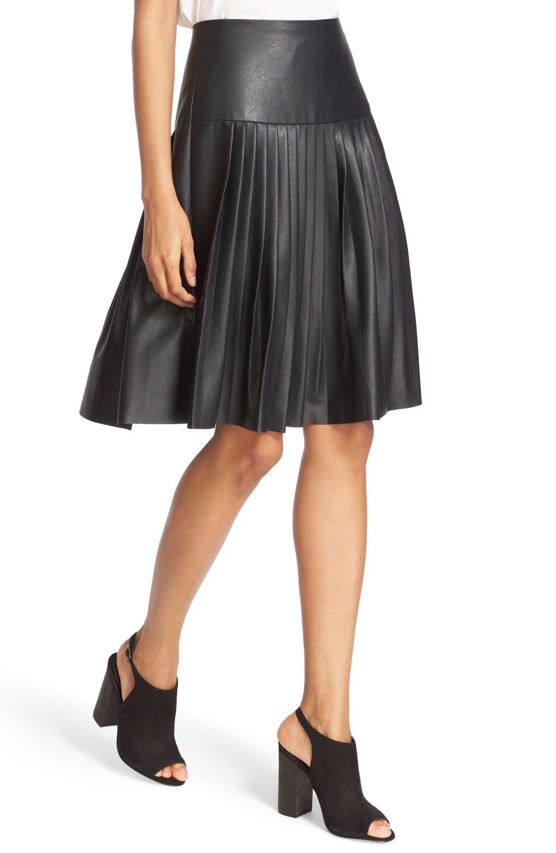 Faux Leather Pleated Drop Yoke Skirt,                             Alternate thumbnail 4, color,                             Black