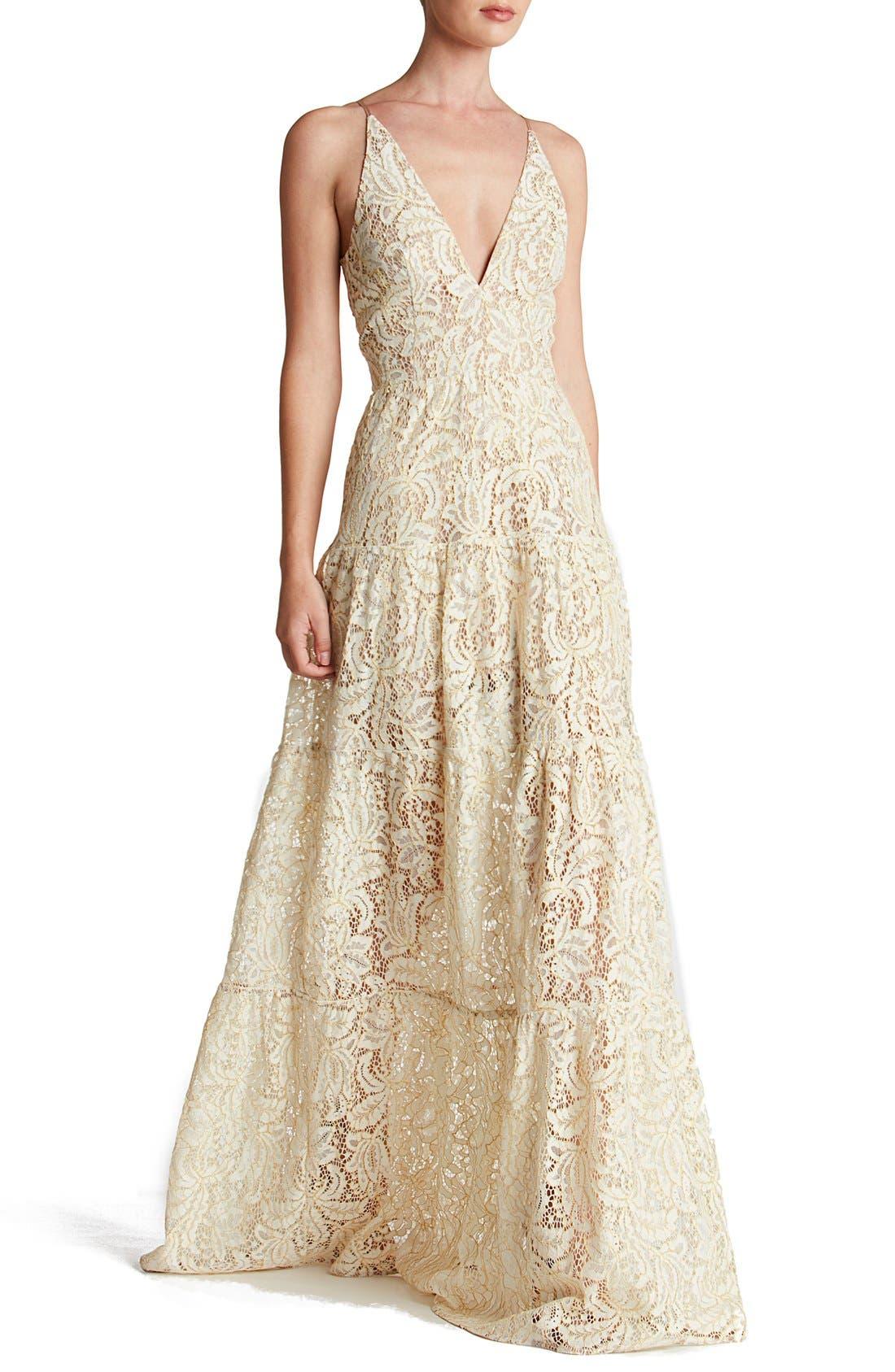Melina Lace Fit & Flare Maxi Dress,                         Main,                         color, Ivory