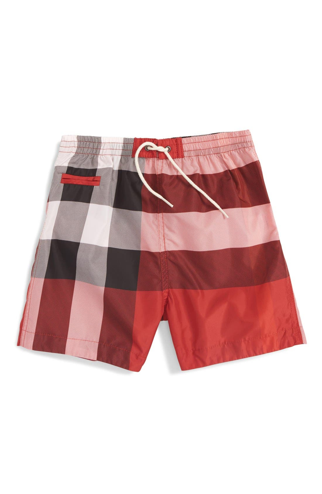Burberry 'Saxon' Check Print Swim Trunks (Baby Boys)