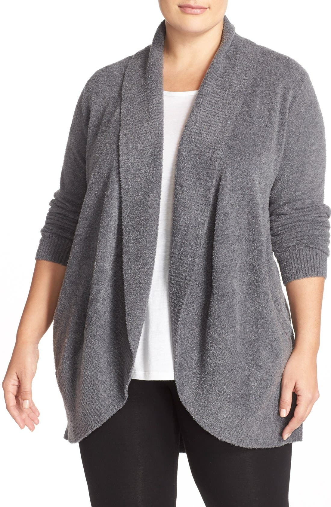 Alternate Image 1 Selected - Barefoot Dreams® CozyChic Lite® Circle Cardigan (Plus Size)