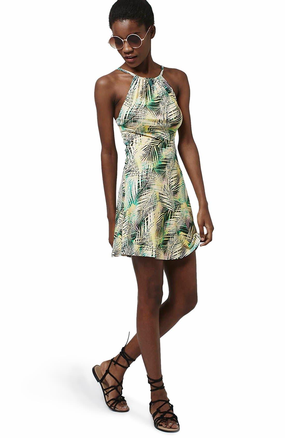Alternate Image 2  - Topshop Tropical Print Flippy Dress (Regular & Petite)
