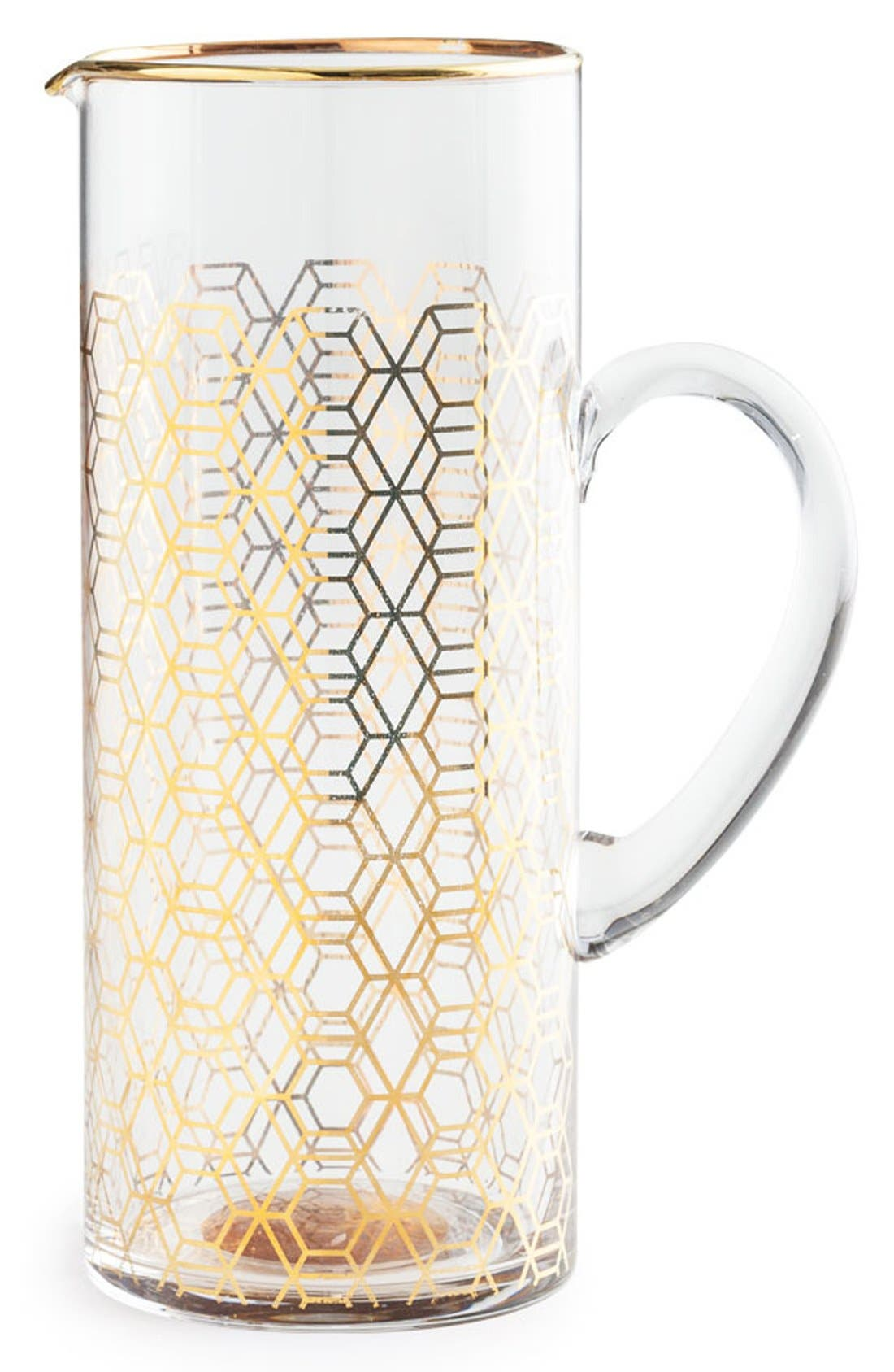 Geometric Glass Pitcher,                             Main thumbnail 1, color,                             Metallic Gold