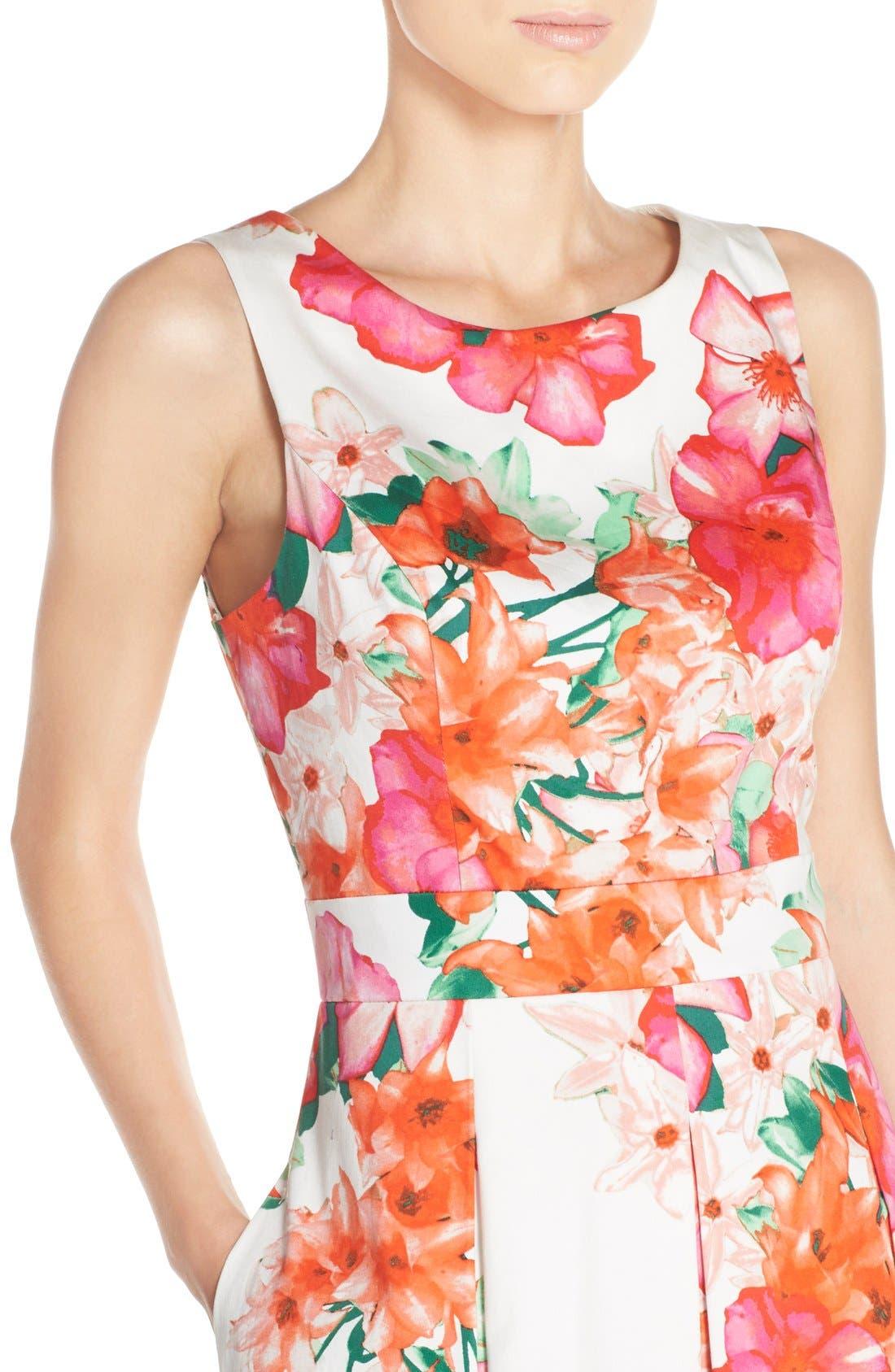 Floral Print Fit & Flare Dress,                             Alternate thumbnail 4, color,                             Pink/ Orange/ Green