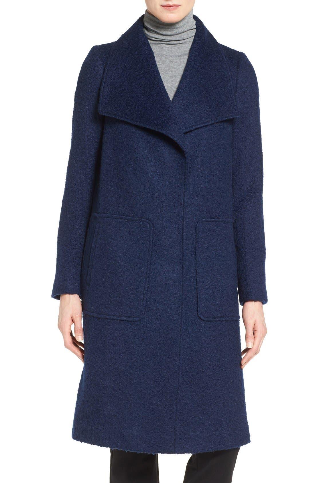 Textured Long Coat,                             Alternate thumbnail 4, color,                             Evening Blue