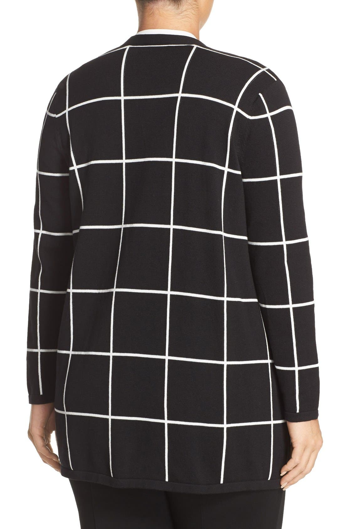 Alternate Image 2  - Vince Camuto Windowpane Intarsia Open Front Cardigan (Plus Size)
