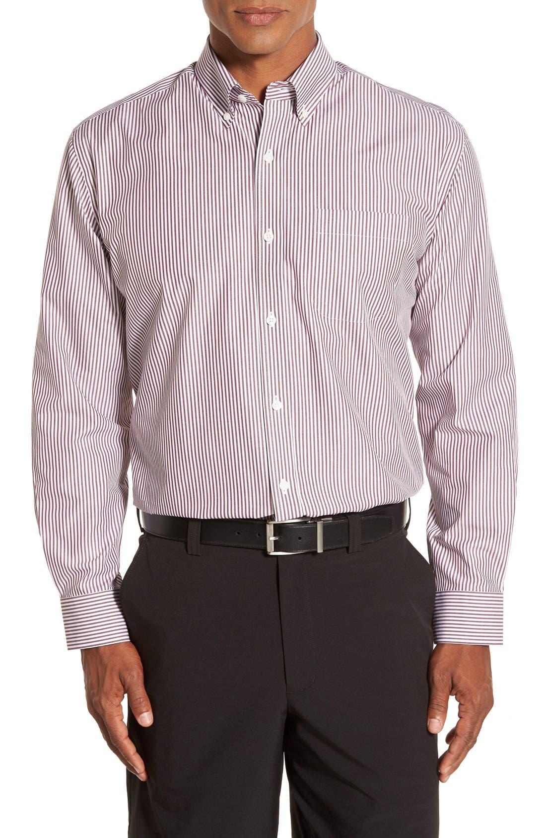 'Epic Easy Care' Regular Fit Mini Bengal Stripe Sport Shirt,                         Main,                         color, Bordeaux