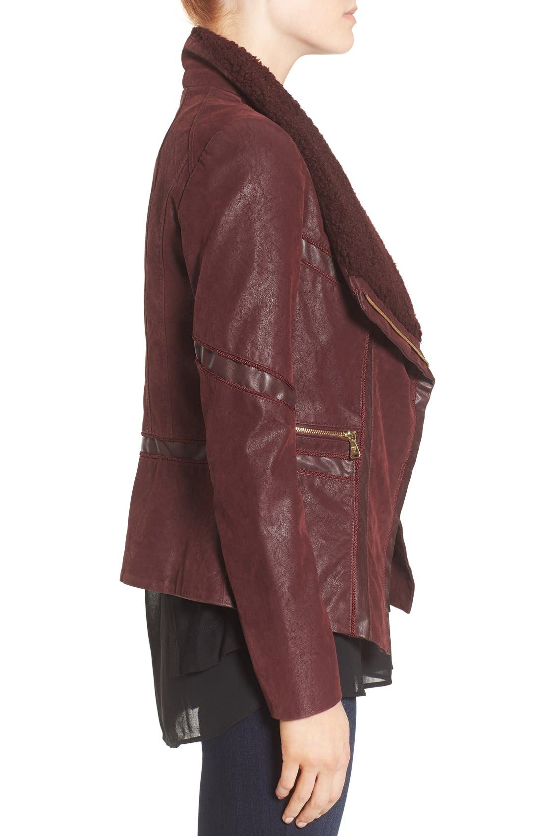Alternate Image 3  - GUESS Faux Leather Moto Jacket with Faux Fur Trim