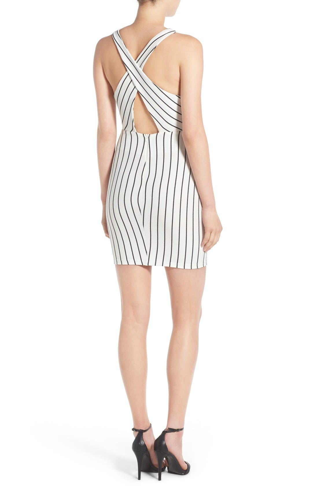 Alternate Image 2  - Lush Clothing Stripe Body-Con Dress