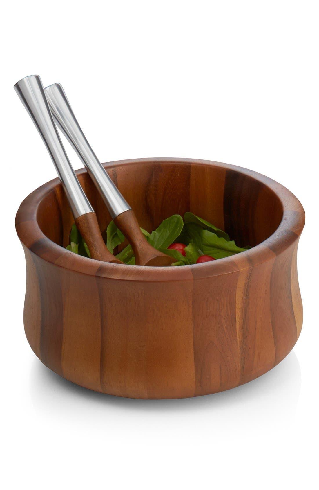 Nambé 'Nara' Wood Salad Bowl & Servers
