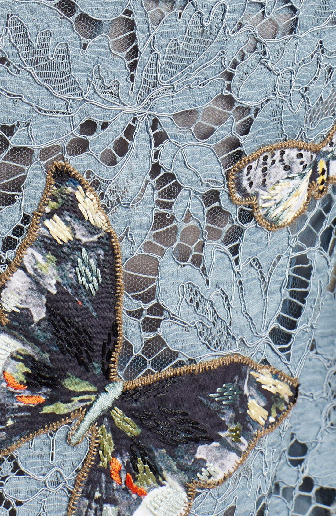 Butterfly Embroidered Lace Dress,                             Alternate thumbnail 3, color,                             Slate Blue