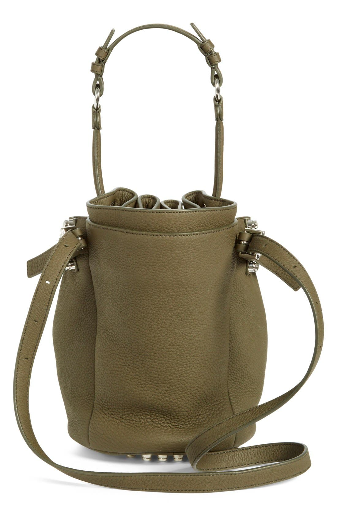 'Small Diego - Nickel' Leather Bucket Bag,                             Alternate thumbnail 3, color,                             Grass