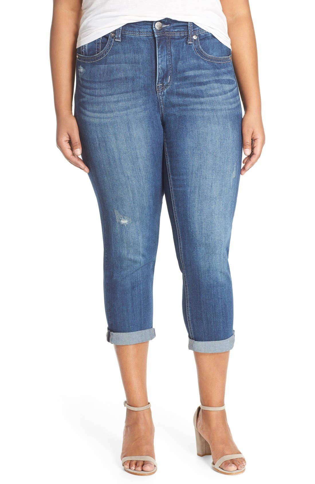 Alternate Image 1 Selected - Melissa McCarthy Seven7 Stretch Crop Jeans (Crosby) (Plus Size)