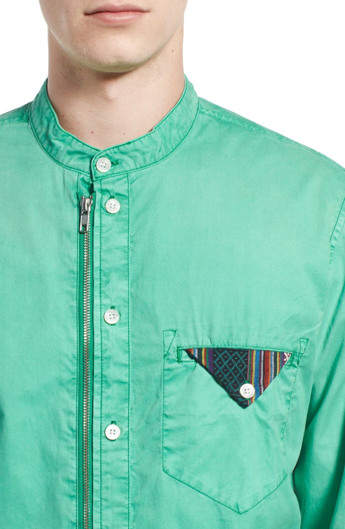 Alternate Image 4  - PRPS 'Cotinga' Extra Trim Fit Band Collar Woven Shirt
