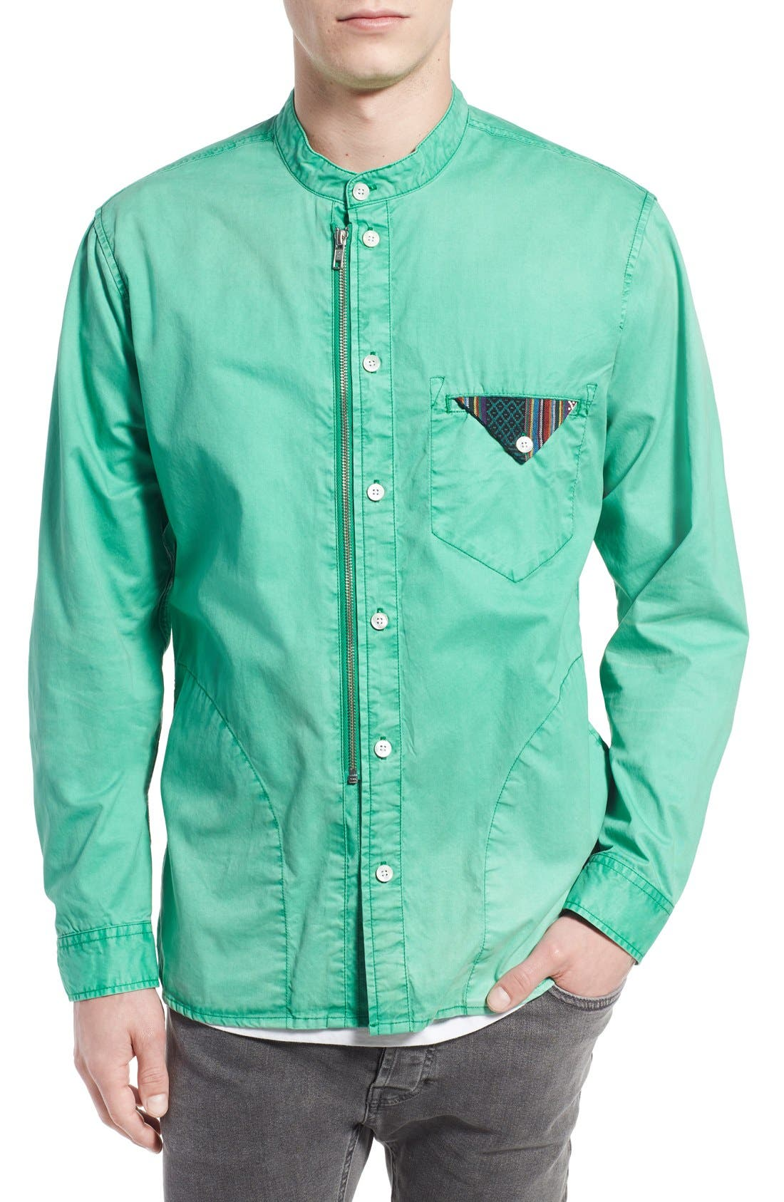 Alternate Image 1 Selected - PRPS 'Cotinga' Extra Trim Fit Band Collar Woven Shirt