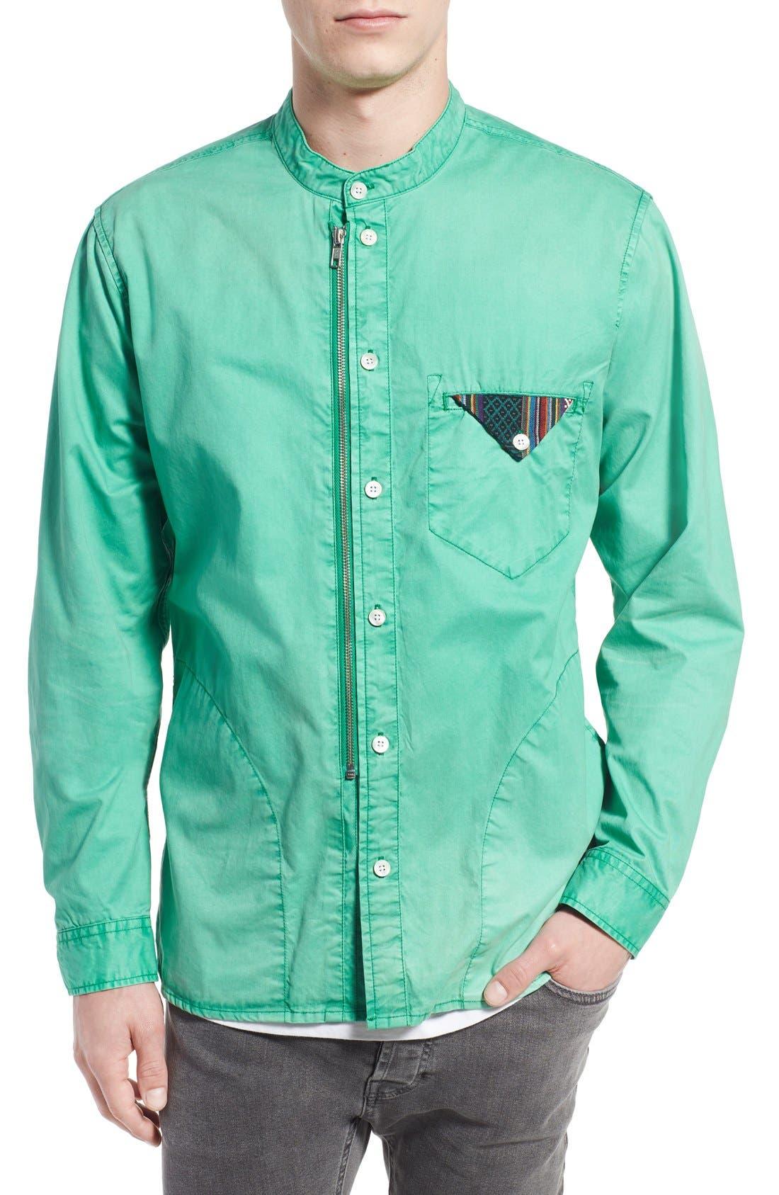 PRPS 'Cotinga' Extra Trim Fit Band Collar Woven Shirt