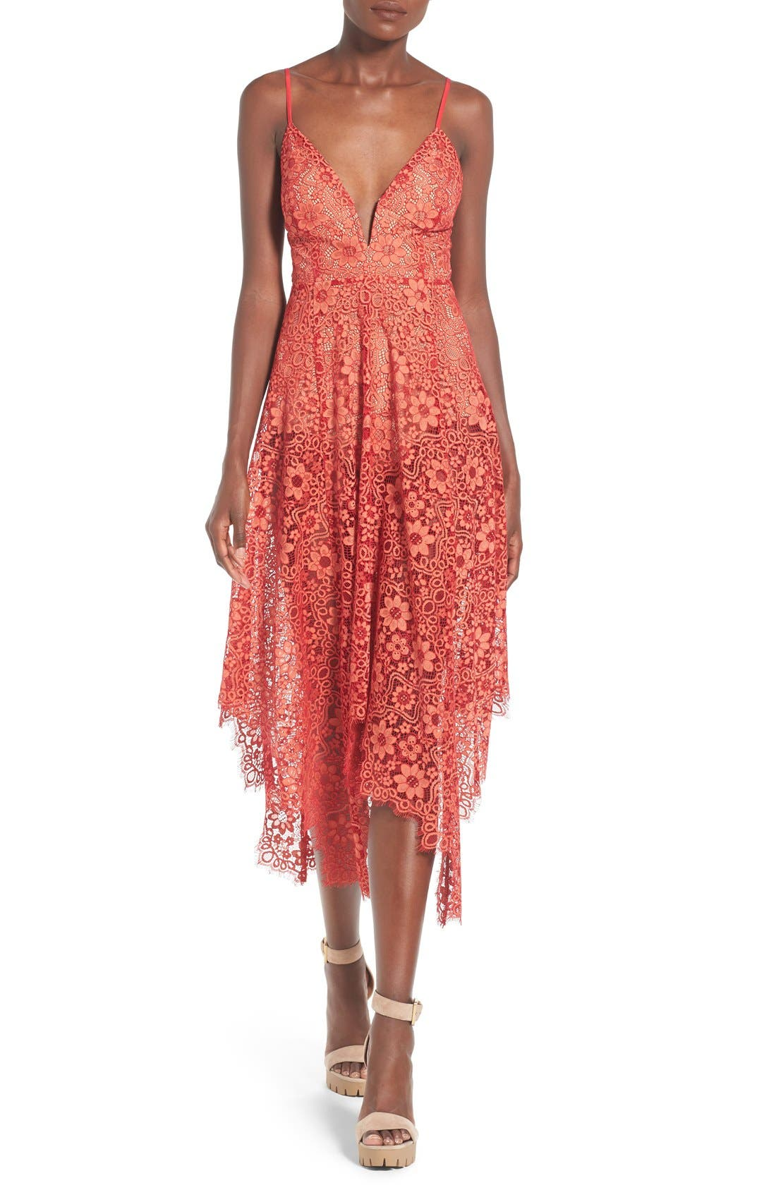 Main Image - For Love & Lemons 'Rosemary' Handkerchief Hem Lace Midi Dress