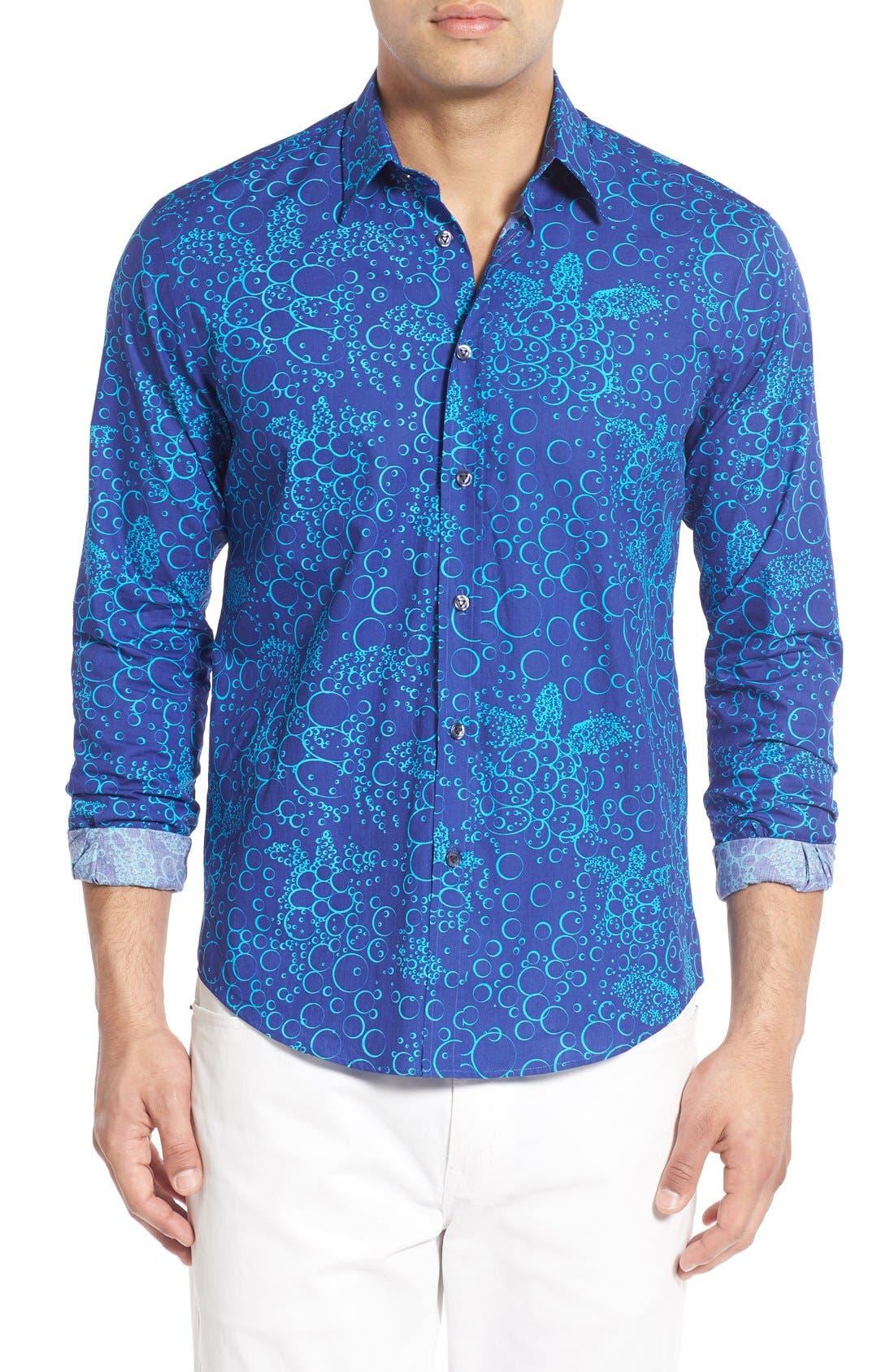 Regular Fit Turtle Print Sport Shirt,                         Main,                         color, Celestial Blue