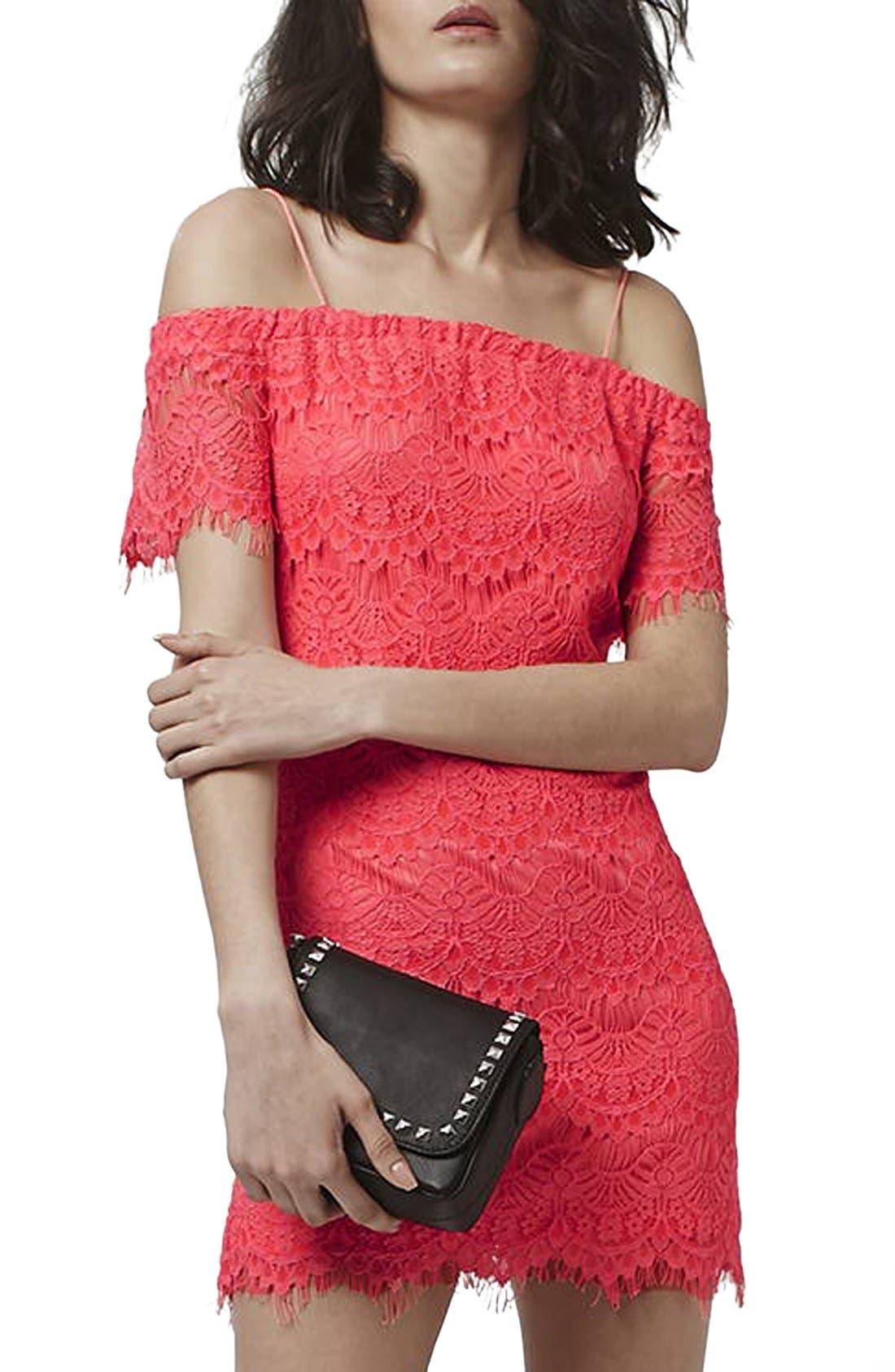 Main Image - Topshop Off the Shoulder Lace Dress