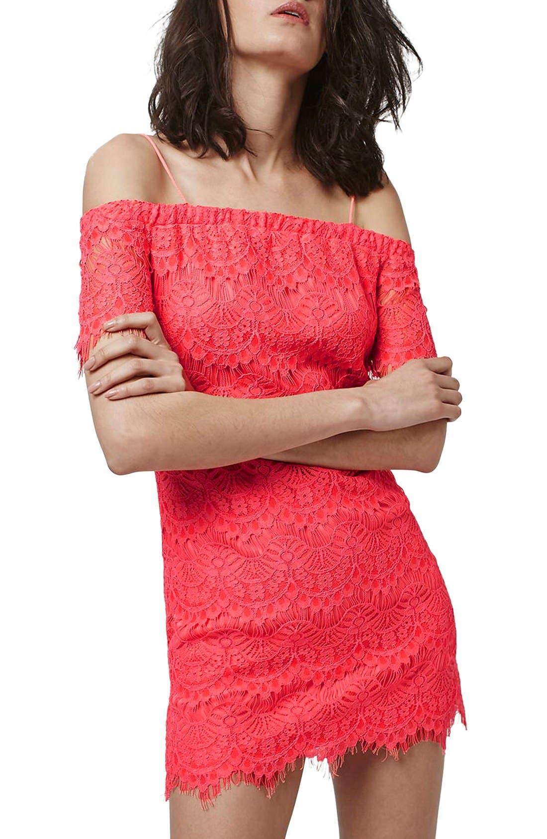 Alternate Image 3  - Topshop Off the Shoulder Lace Dress