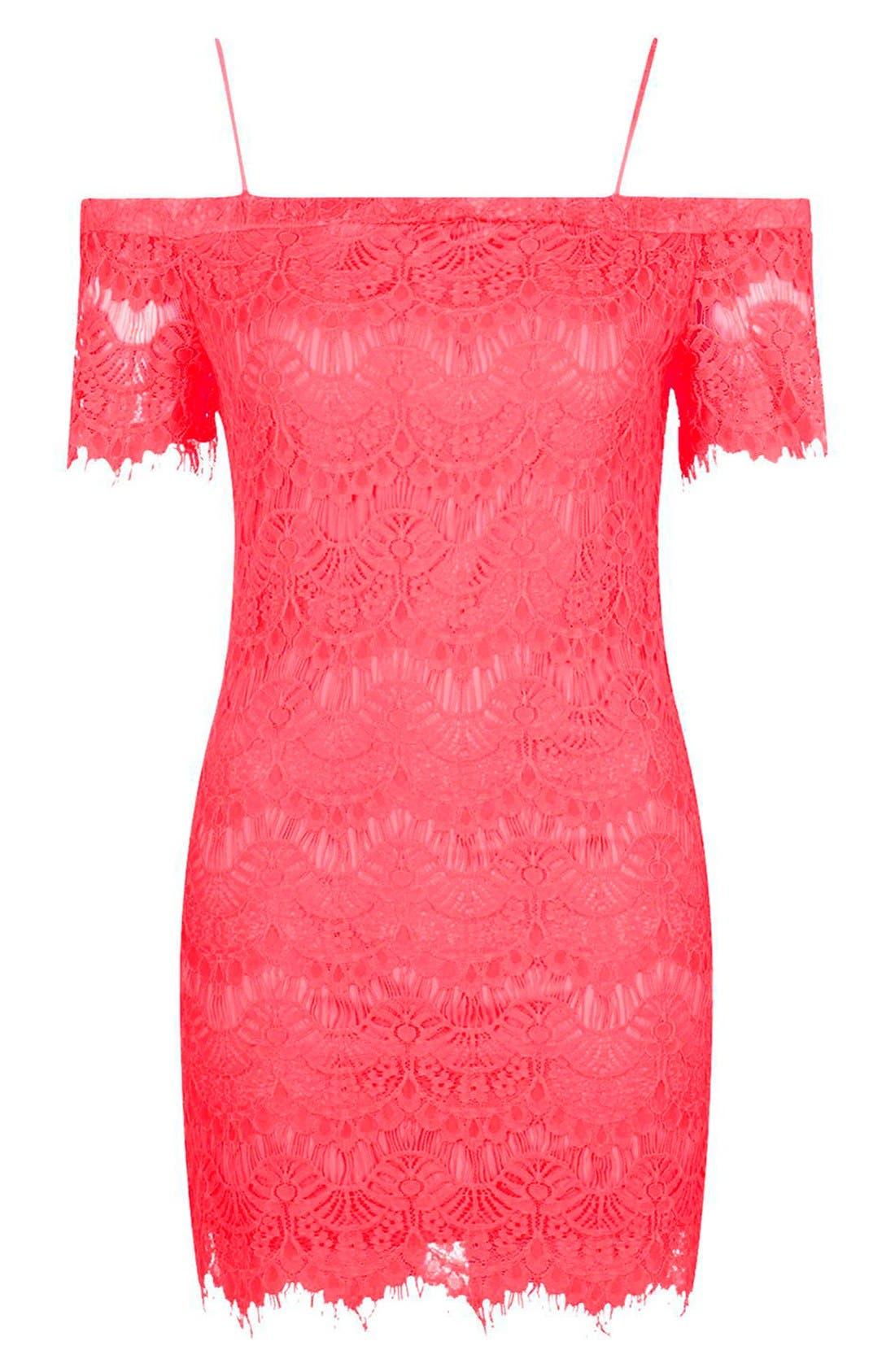 Alternate Image 4  - Topshop Off the Shoulder Lace Dress