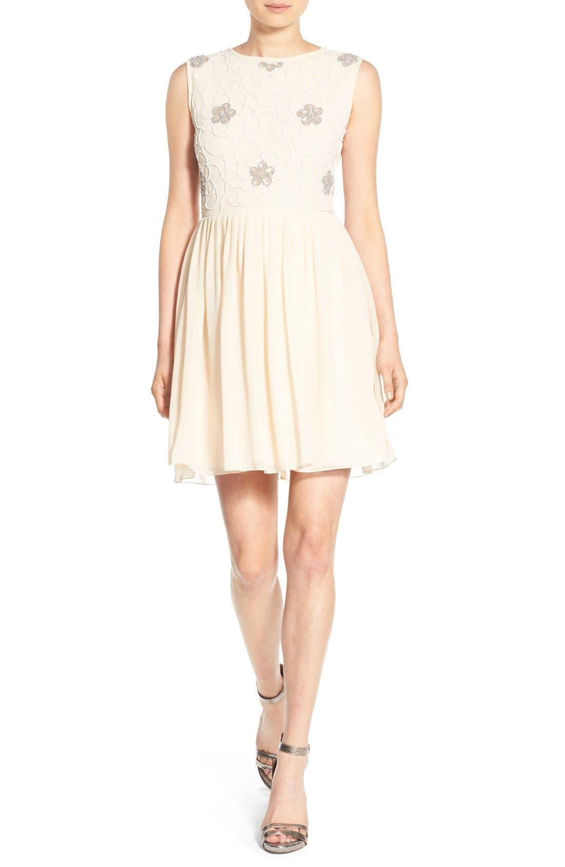 Alternate Image 6  - Lace & Beads 'Sandra' Embellished Skater Dress