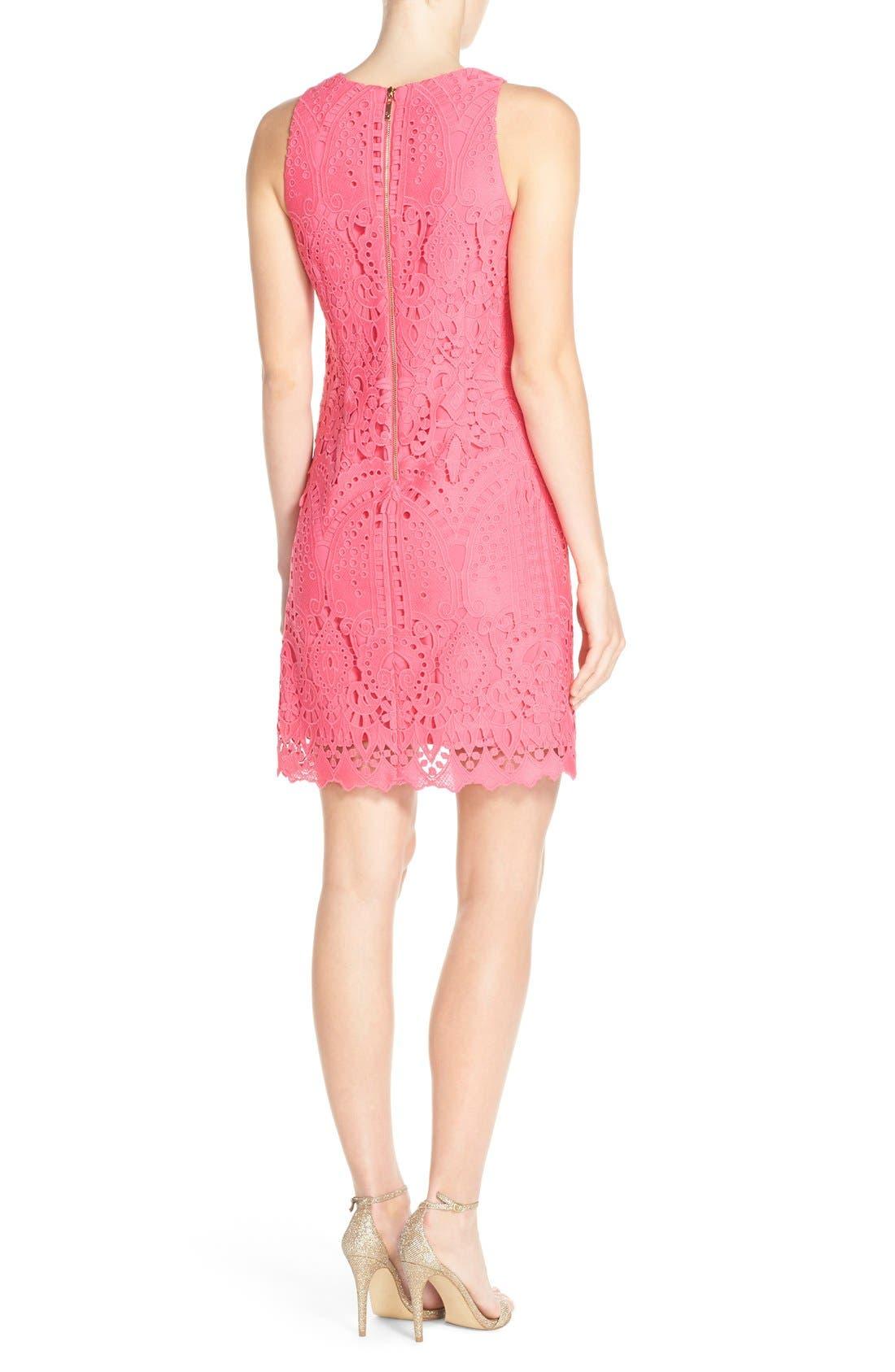 Lace Shift Dress,                             Alternate thumbnail 2, color,                             Pink