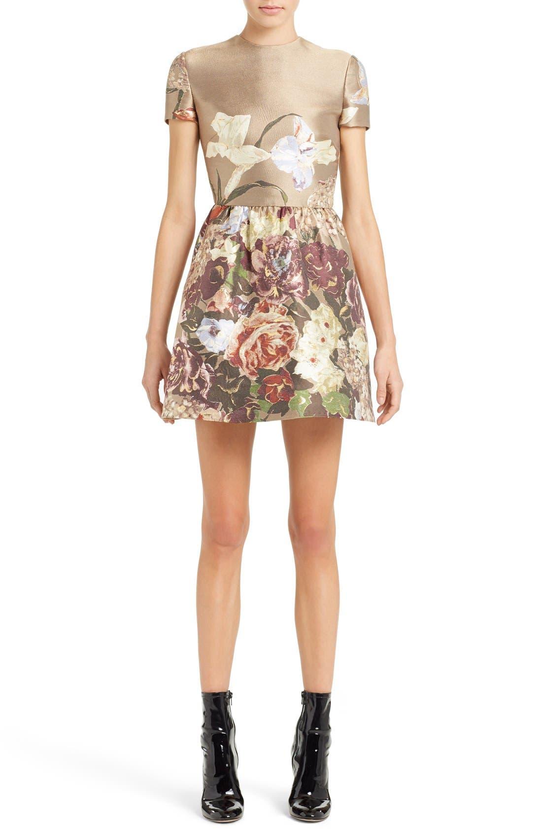 Main Image - Valentino Kimono Floral Silk Blend Jacquard Dress