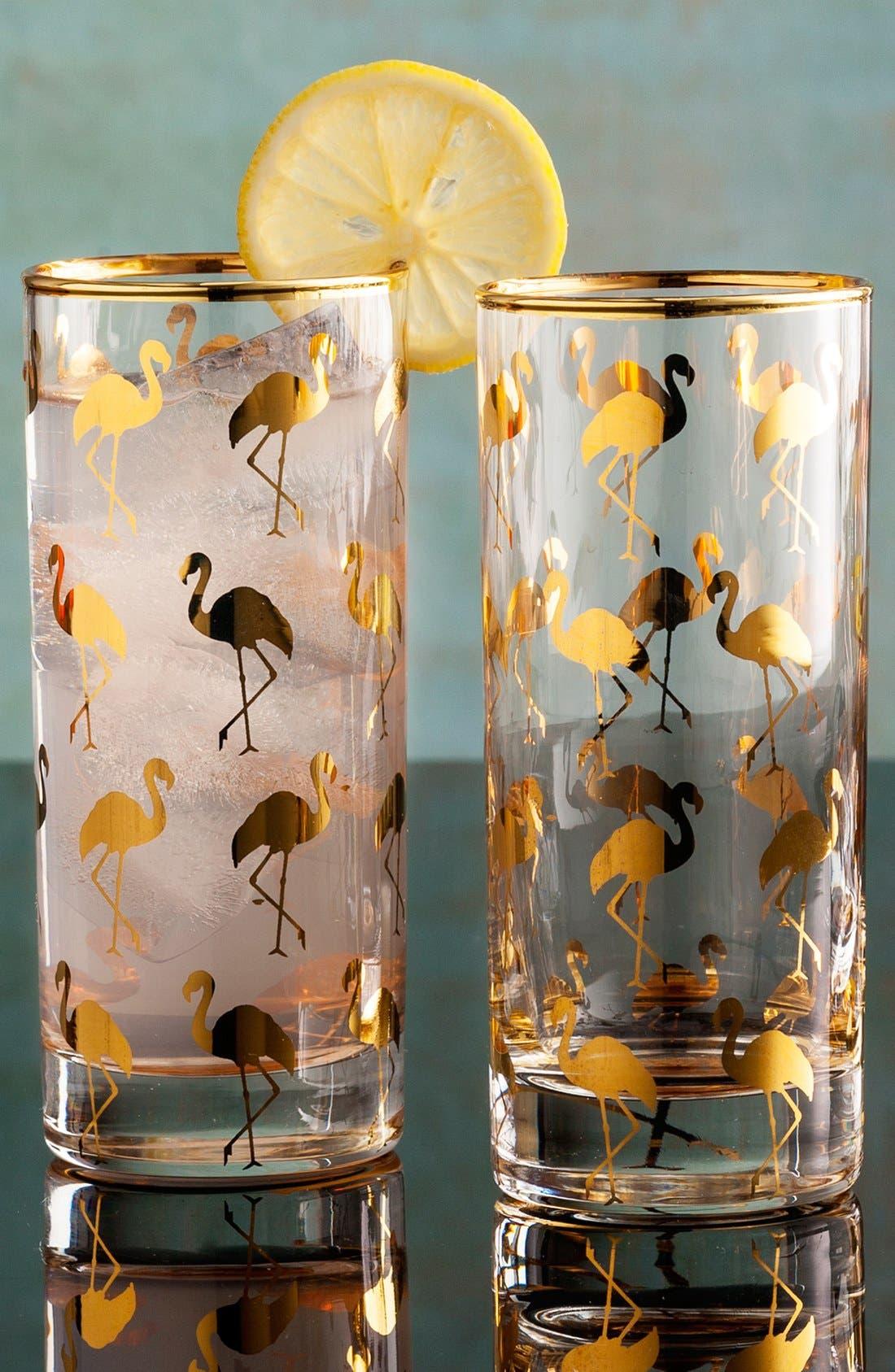 Alternate Image 2  - Rosanna Flamingo Highball Glasses (Set of 4)