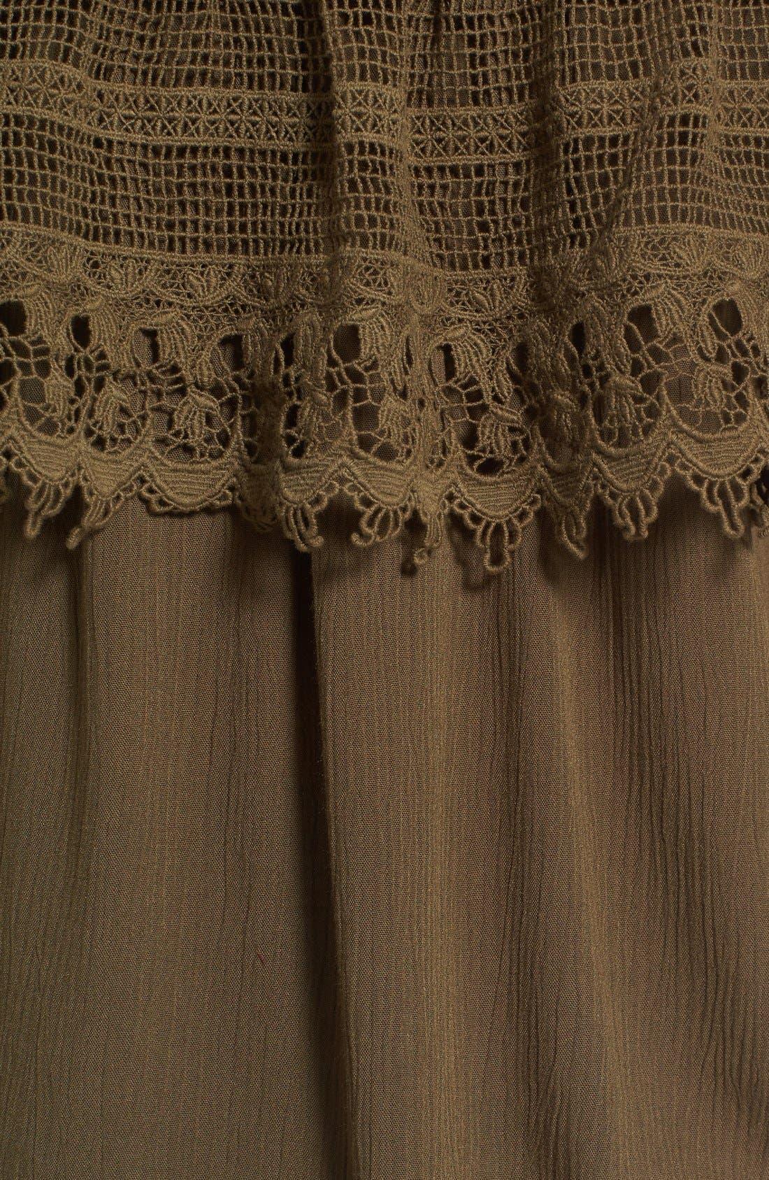 Crochet Off the Shoulder Top,                             Alternate thumbnail 5, color,                             Olive