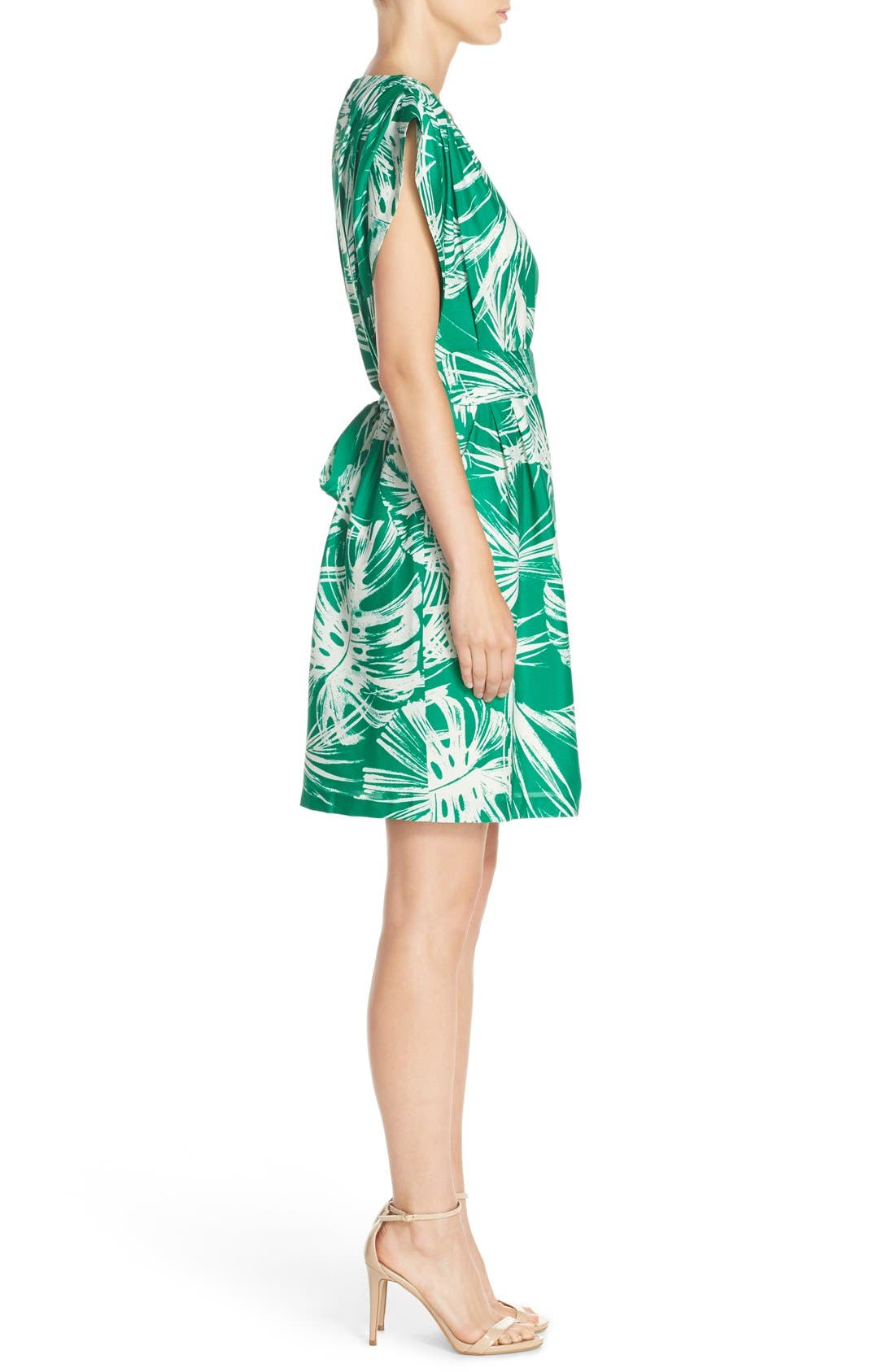 Palm Print Crêpe de Chine Shift Dress,                             Alternate thumbnail 3, color,                             Green Ivory