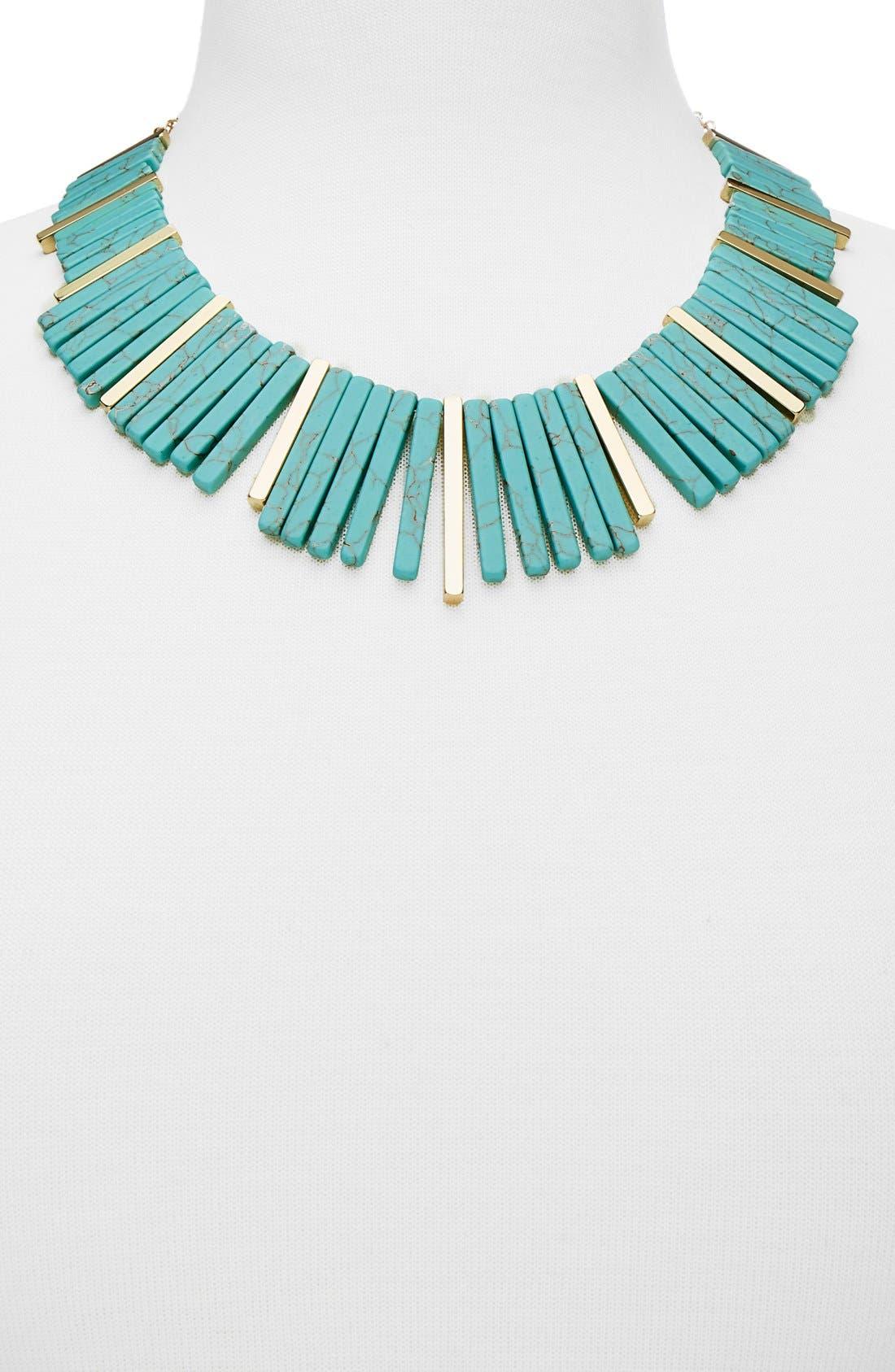 Stone Bib Necklace,                             Alternate thumbnail 2, color,                             Gold/ Turquoise