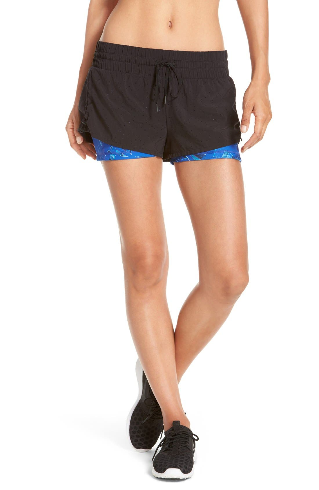 'Twice as Nice' Layered Shorts,                         Main,                         color, Black