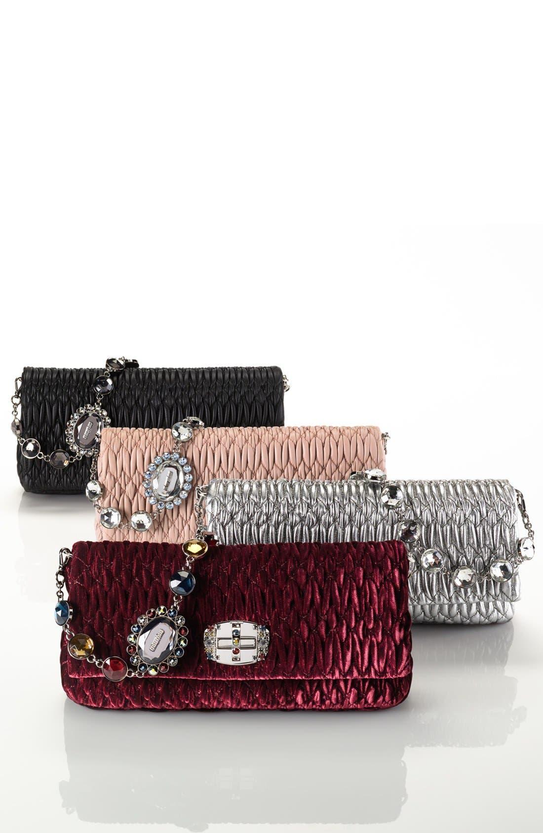 Medium Crystal Embellished Quilted Velvet Shoulder Bag,                             Alternate thumbnail 7, color,
