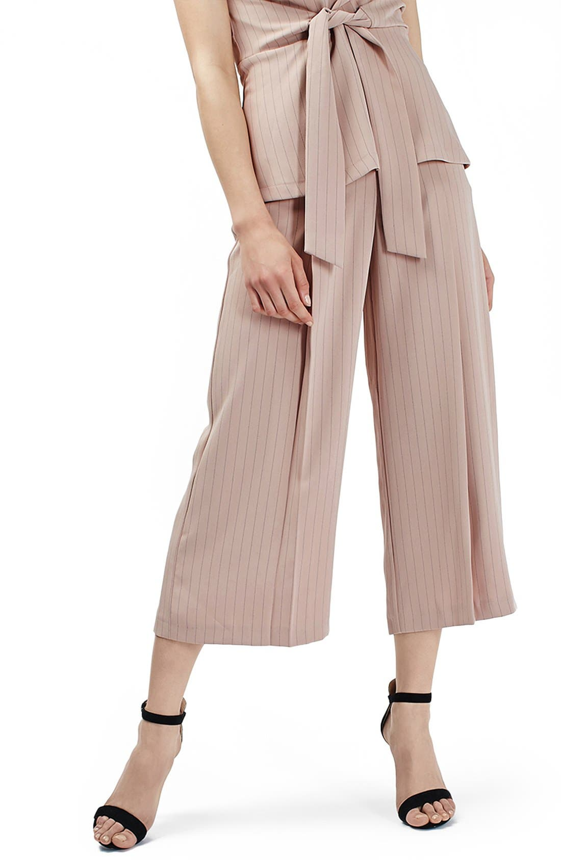 Main Image - Topshop Pinstripe Wide Leg Crop Pants